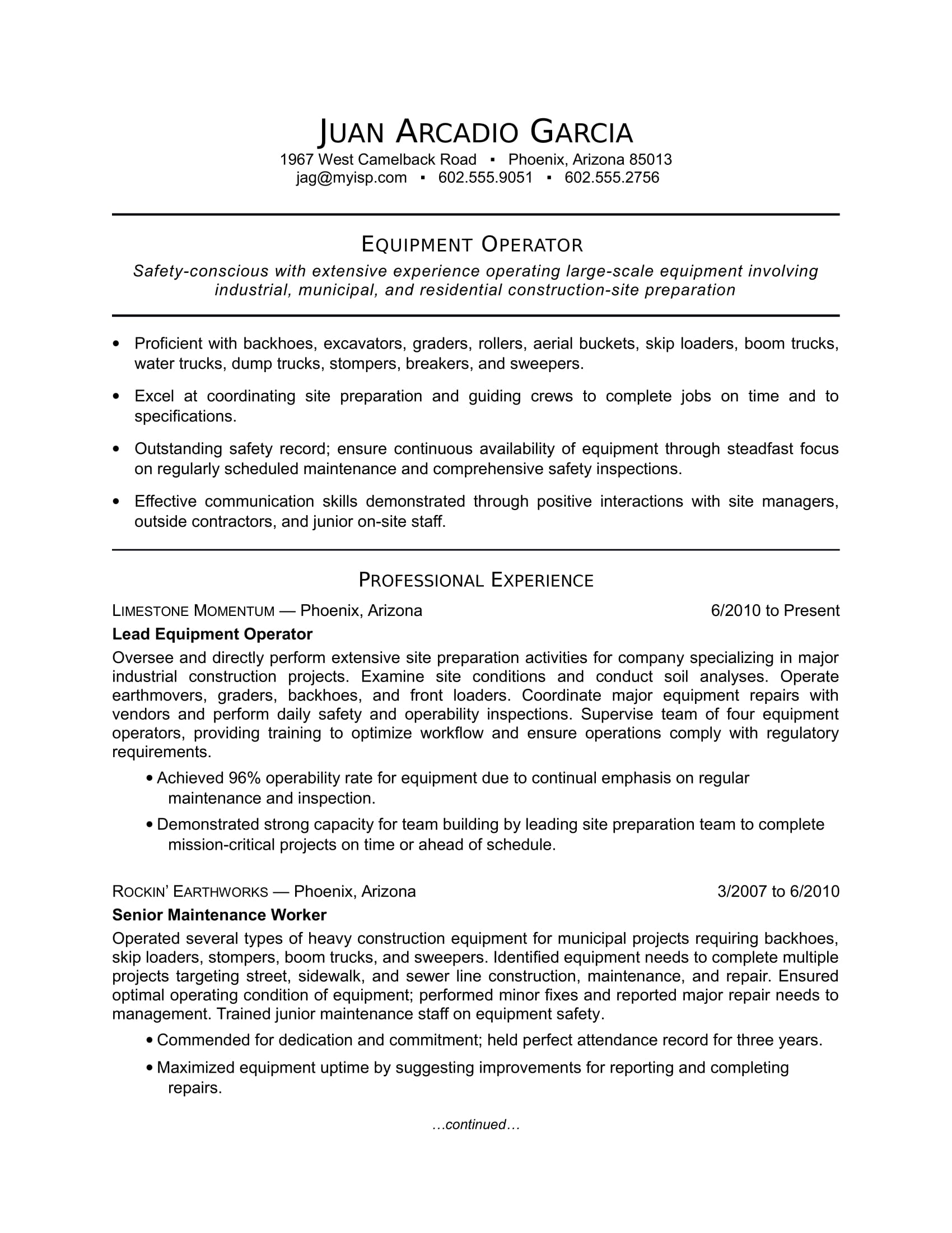 Electrician Foreman Resume Equipment Operator Resume Sample Monster