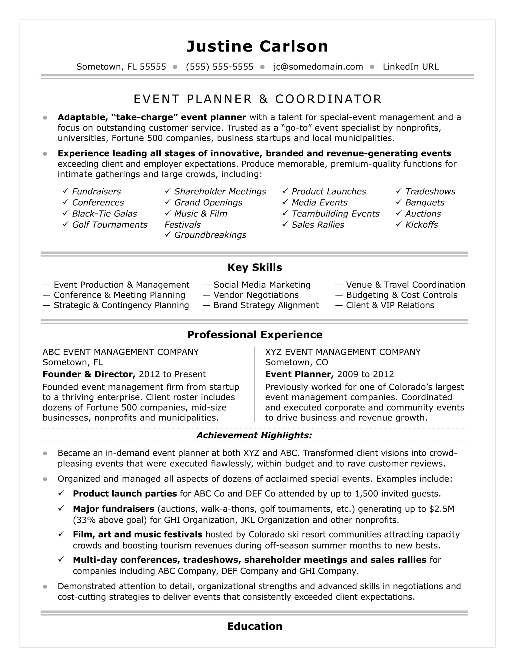 The Resume Place Complaints Event Coordinator Resume Sample Monster