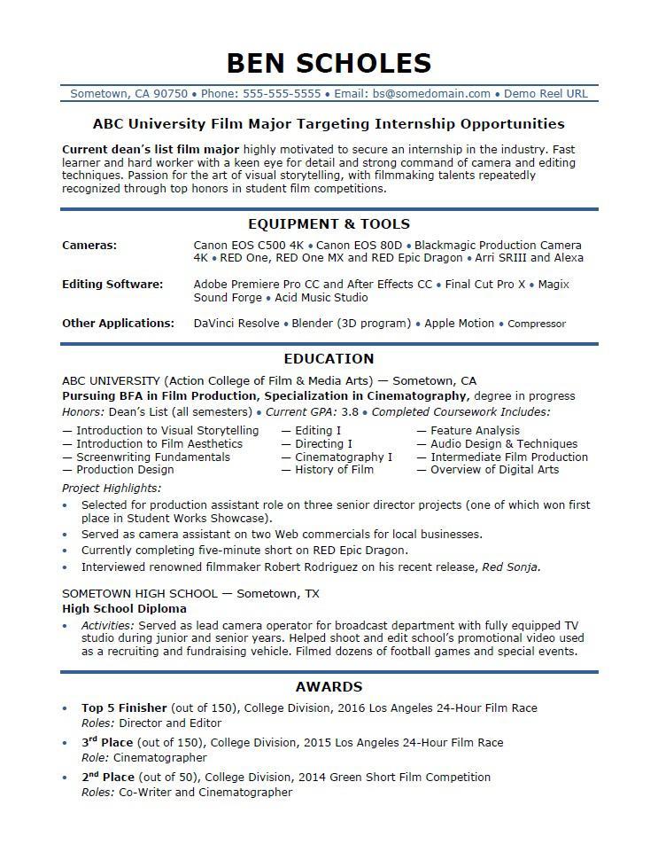 Internship Resume Sample  Monstercom
