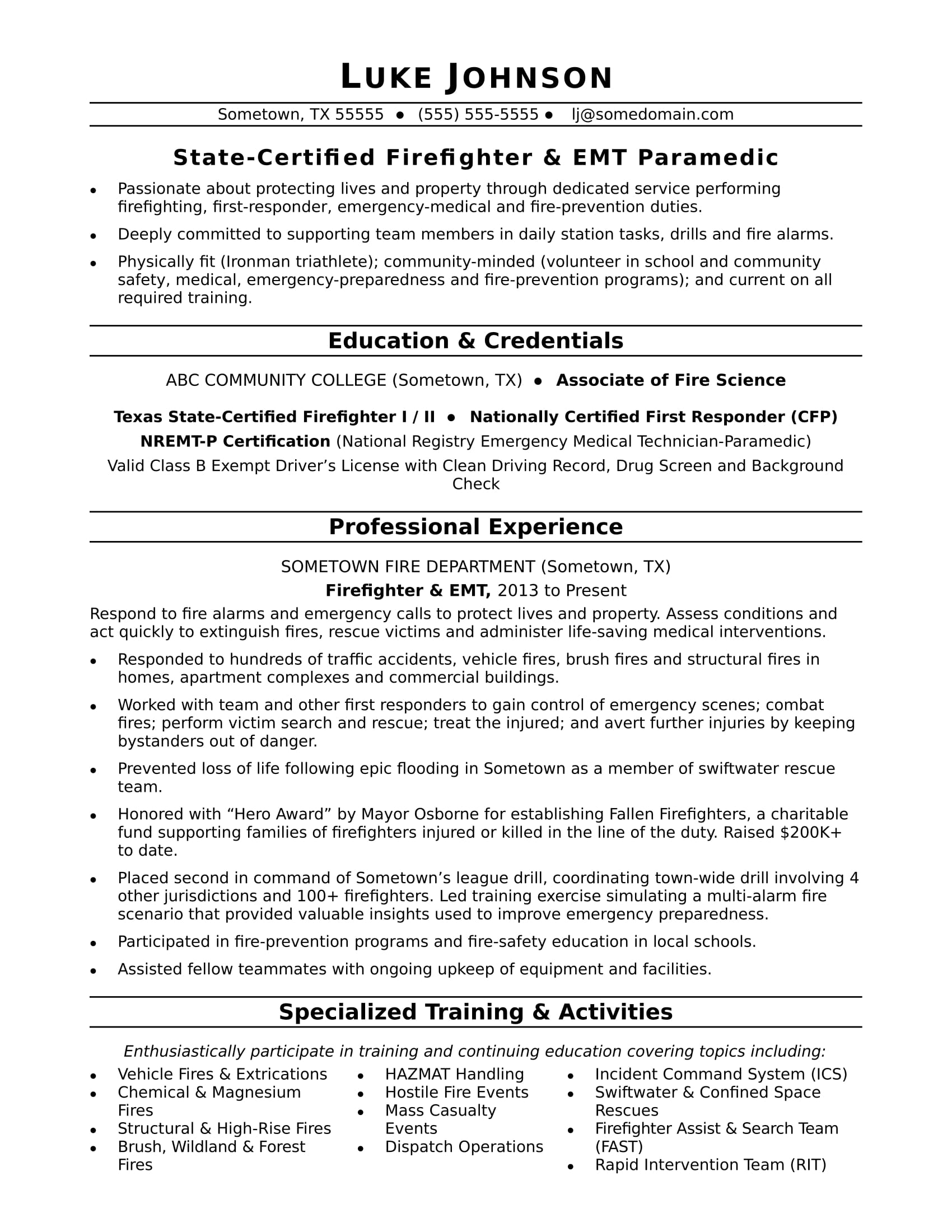 Chemical Operator Resume Firefighter Resume Sample Monster