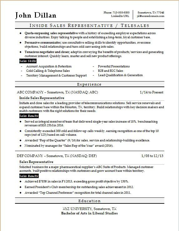 Objective Sales Representative Resume Objectives For A