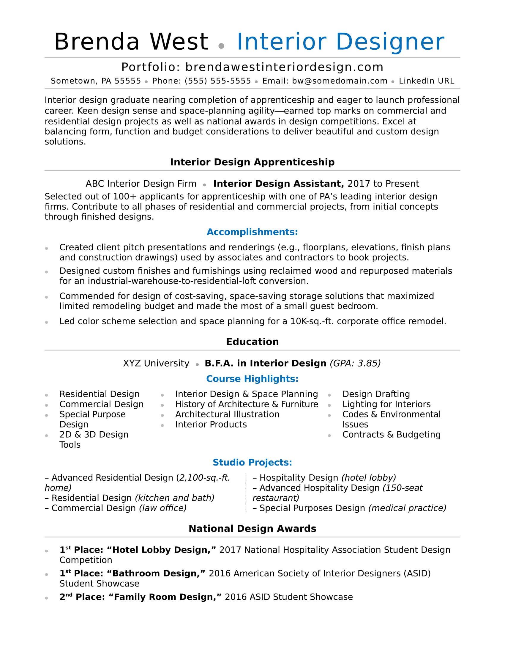 Interior Designer Resume Interior Design Resume Sample Monster