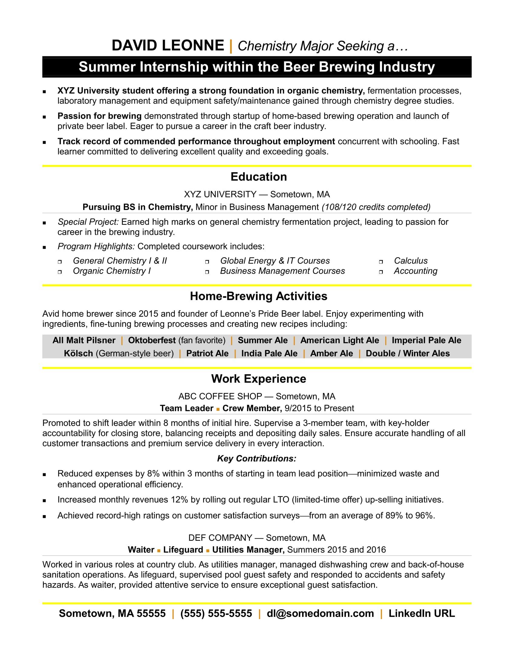internship experience resume sample