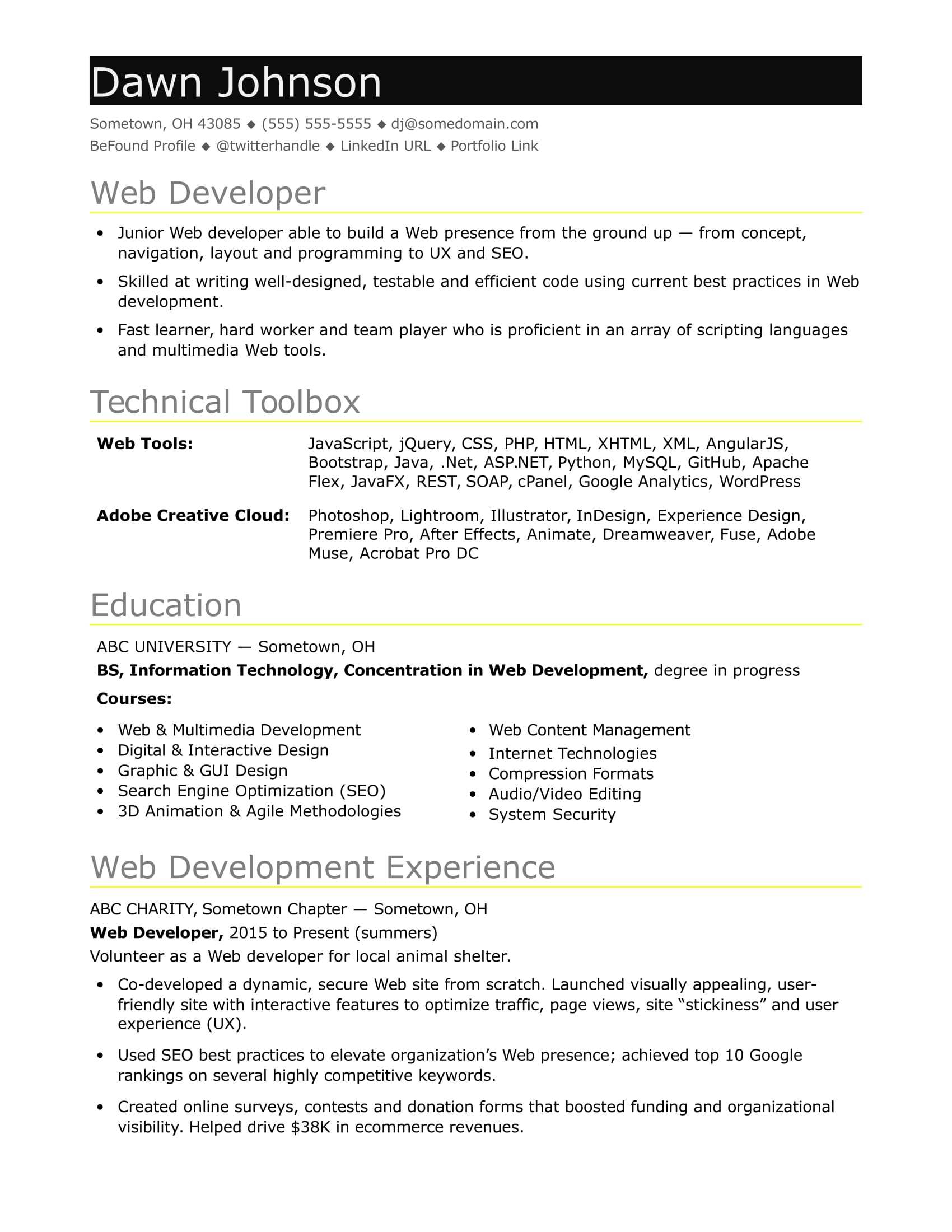 Junior Web Developer Resume Sample Resume For An Entry Level It Developer Monster