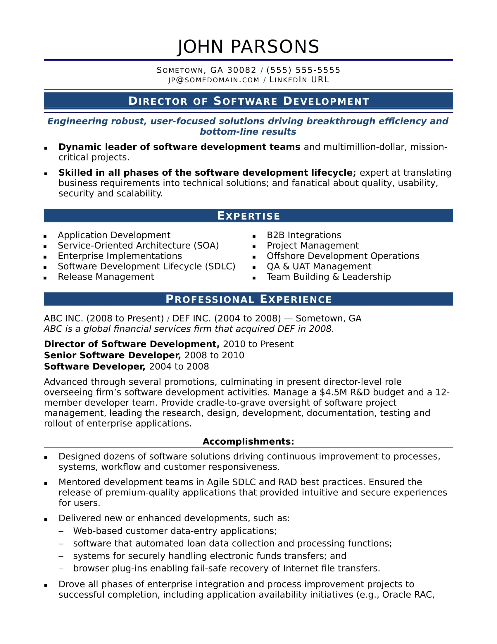 Resume Format For 1 Year Experienced Software Developer Sample Resume For An Experienced It Developer Monster