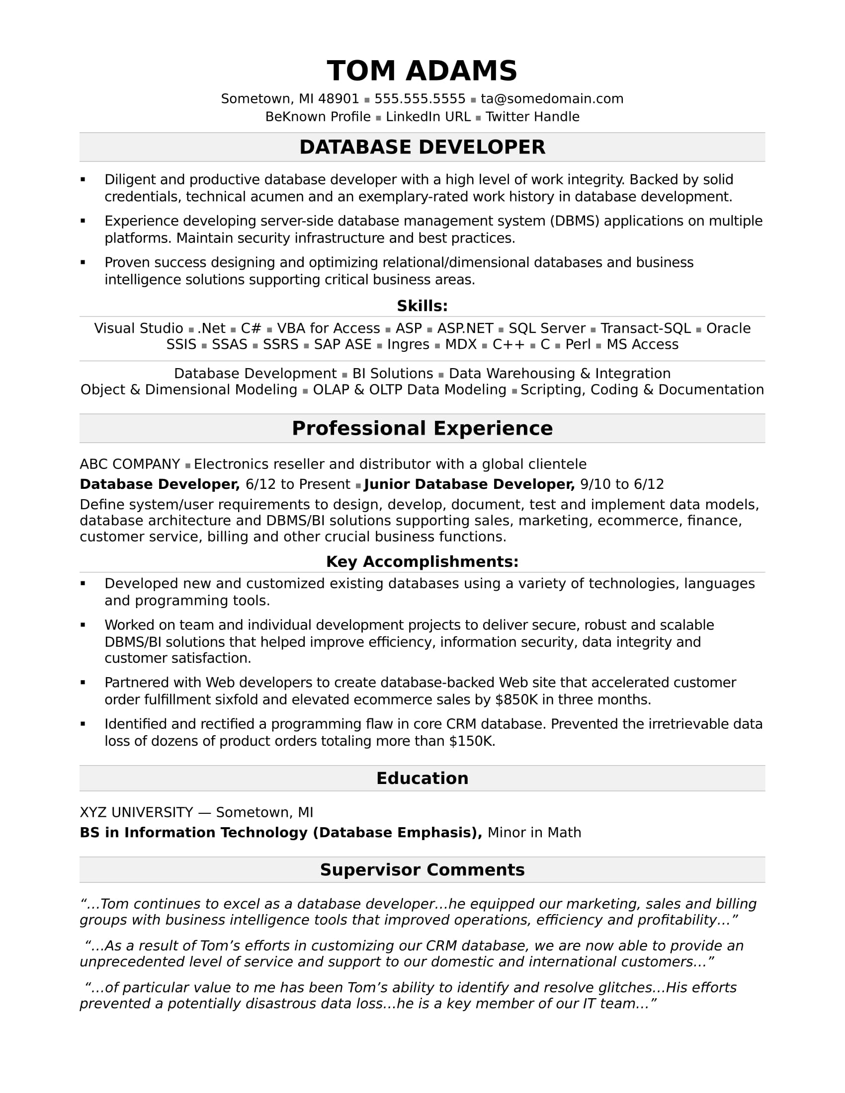 Oracle Apps Developer Cover Letter Sample Resume For A Midlevel It Developer Monster