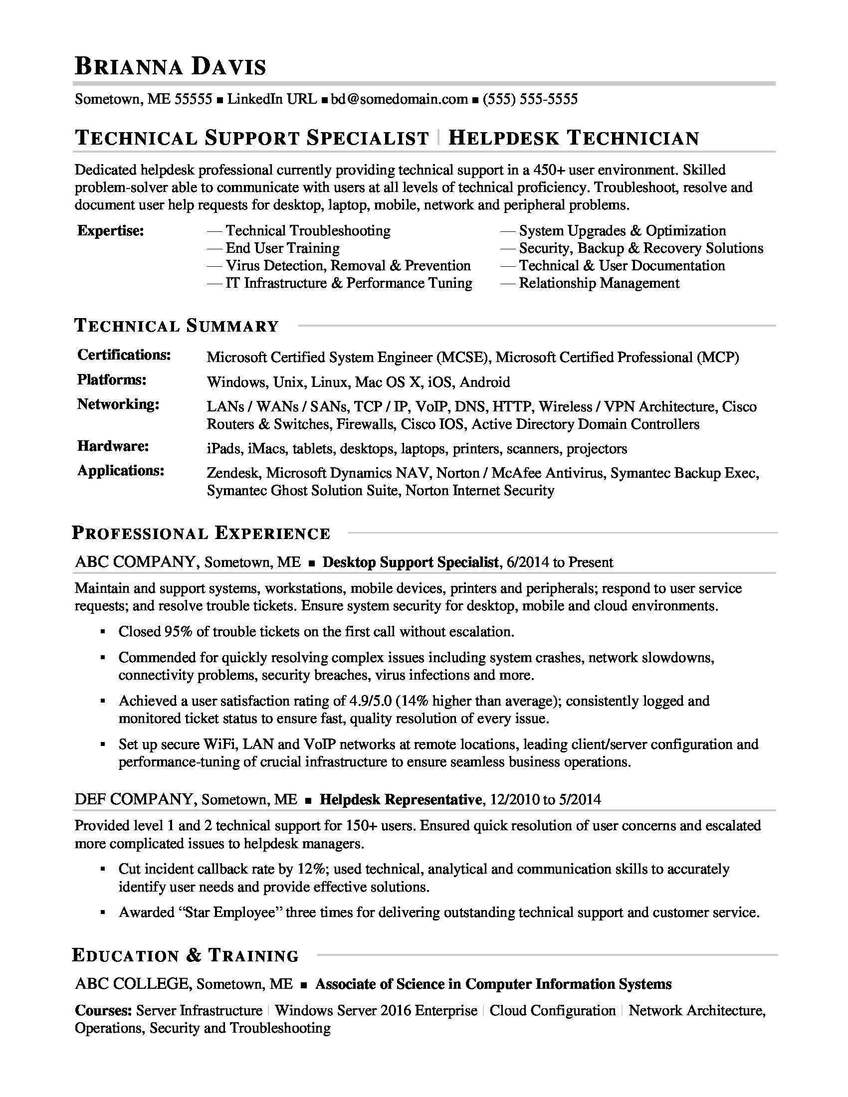 Technical Resume Tips Sample Resume For Experienced It Help Desk Employee Monster