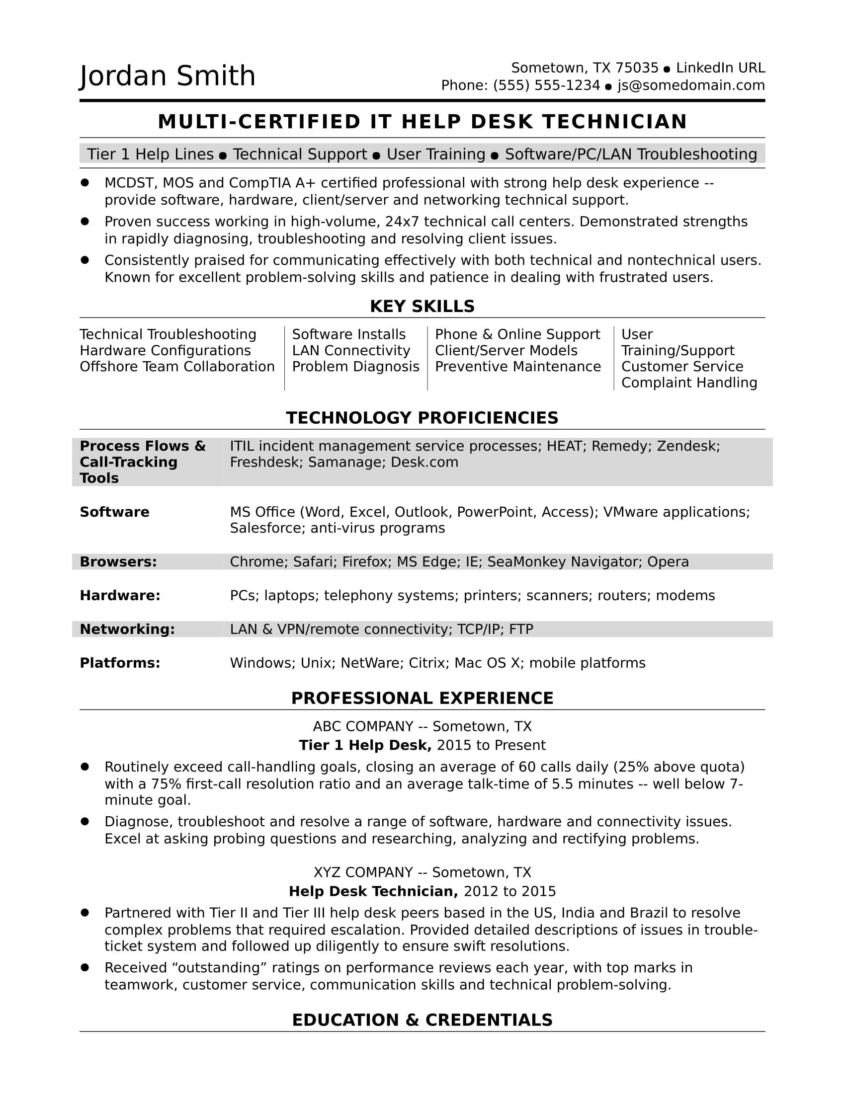 Sample Resume For A Midlevel It Help Desk Professional