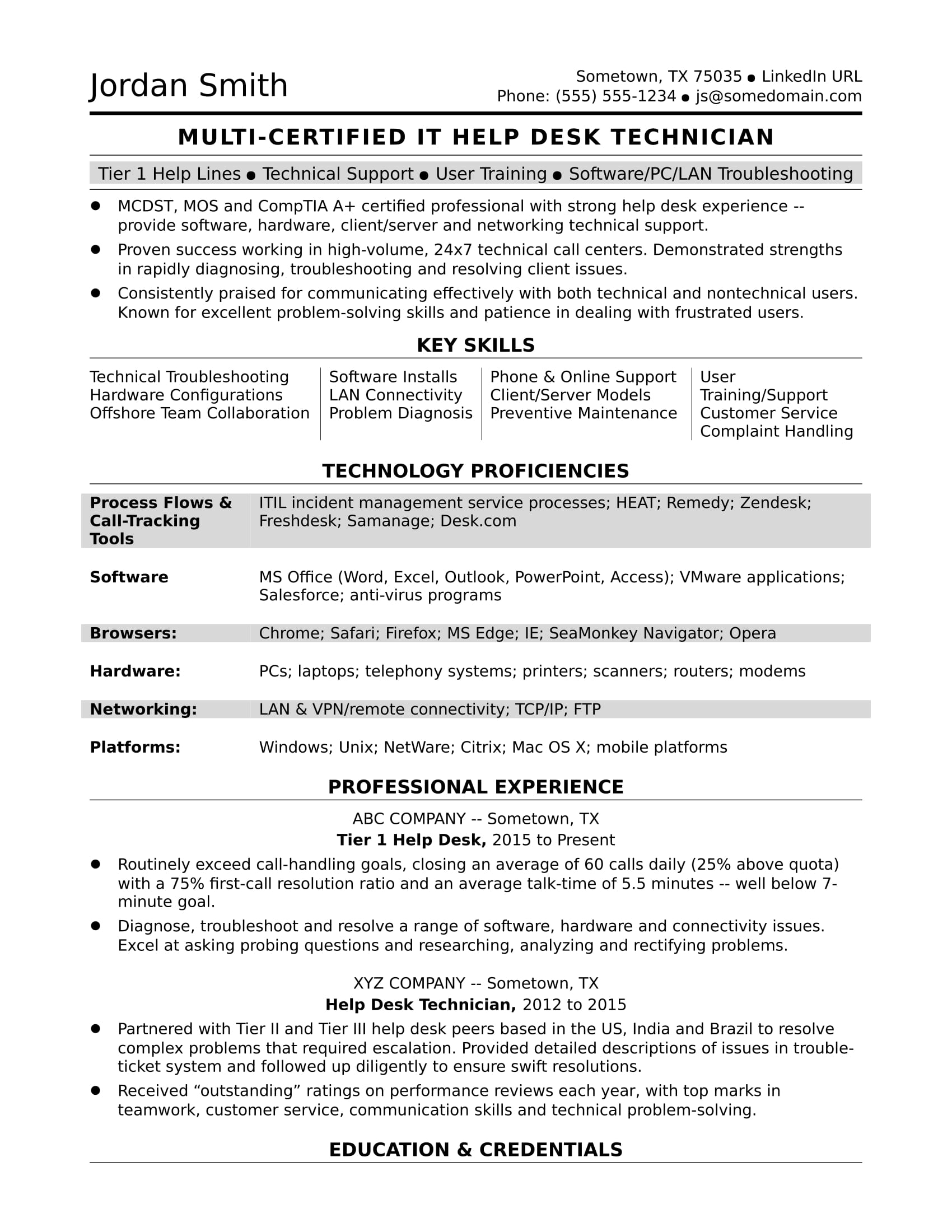 The Resume Place Complaints Sample Resume For A Midlevel It Help Desk Professional Monster