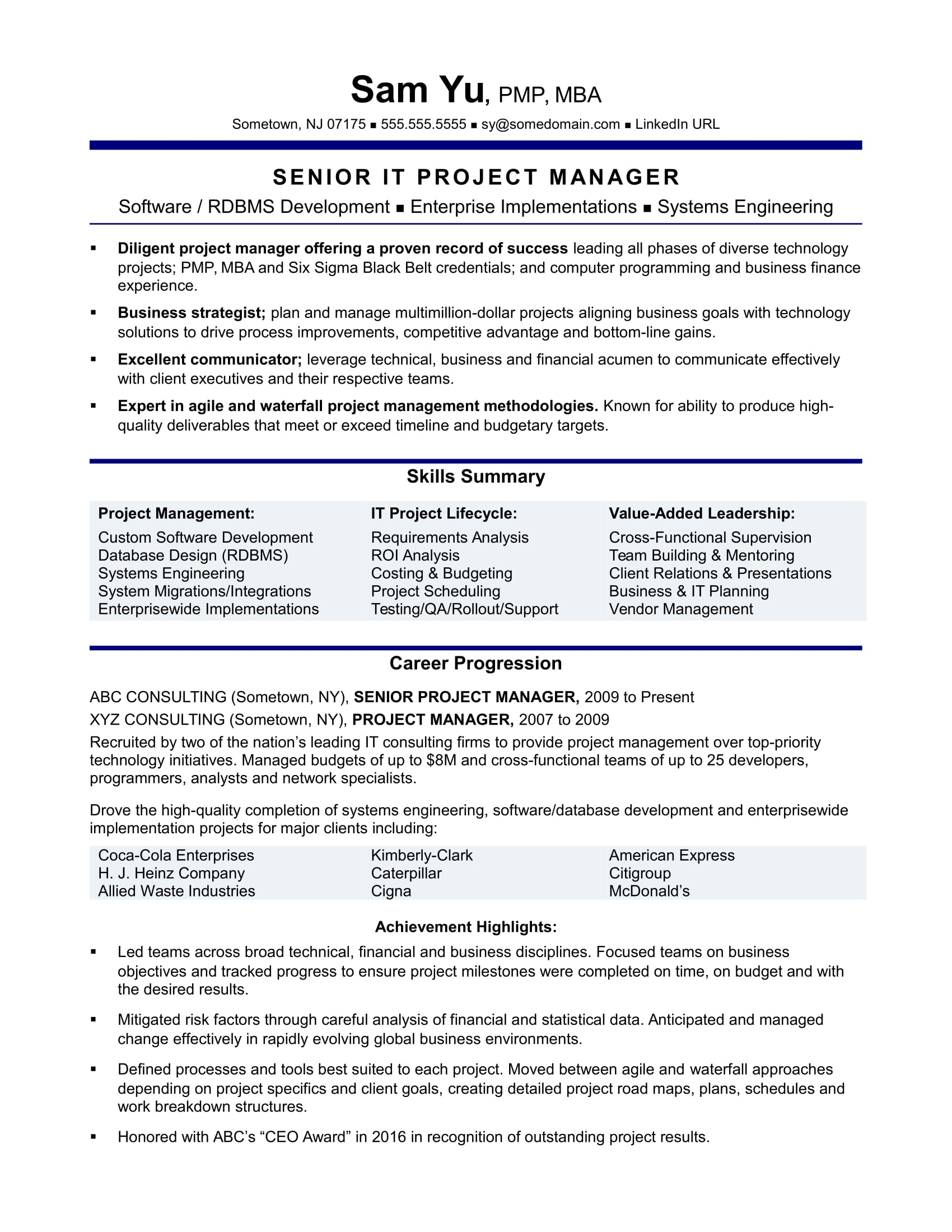 Experienced It Project Manager Resume Sample