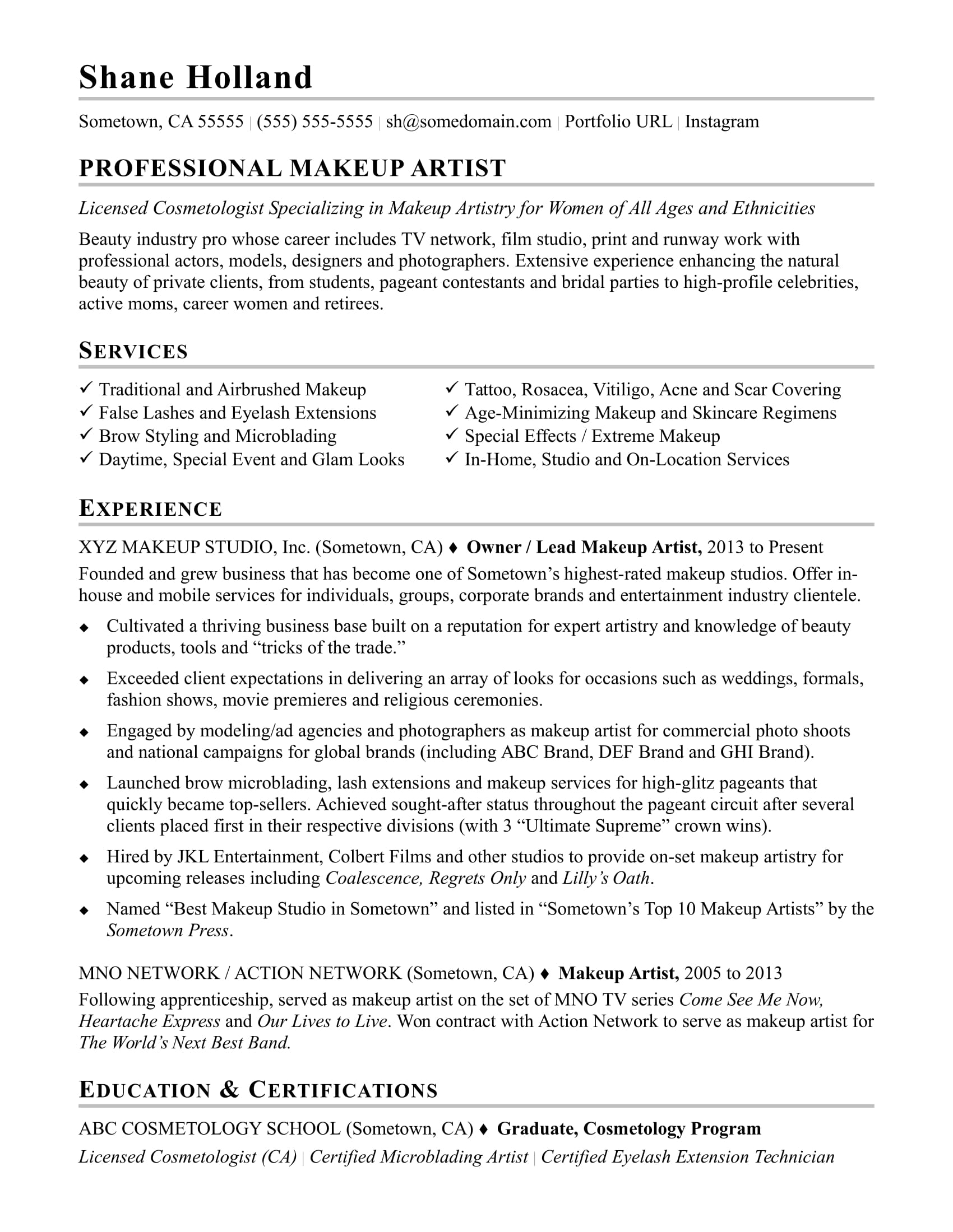 Resume Of Makeup Artist Makeup Artist Resume Sample Monster