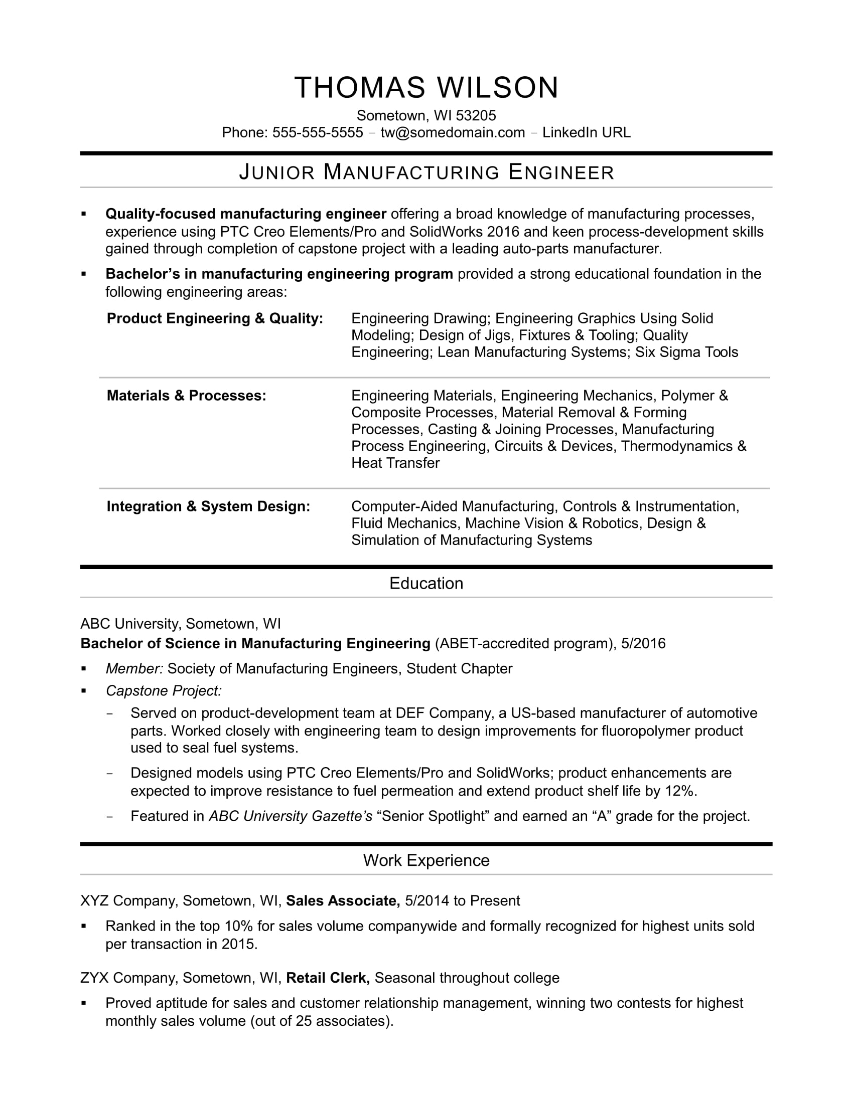 Sample Resume for an EntryLevel Manufacturing Engineer