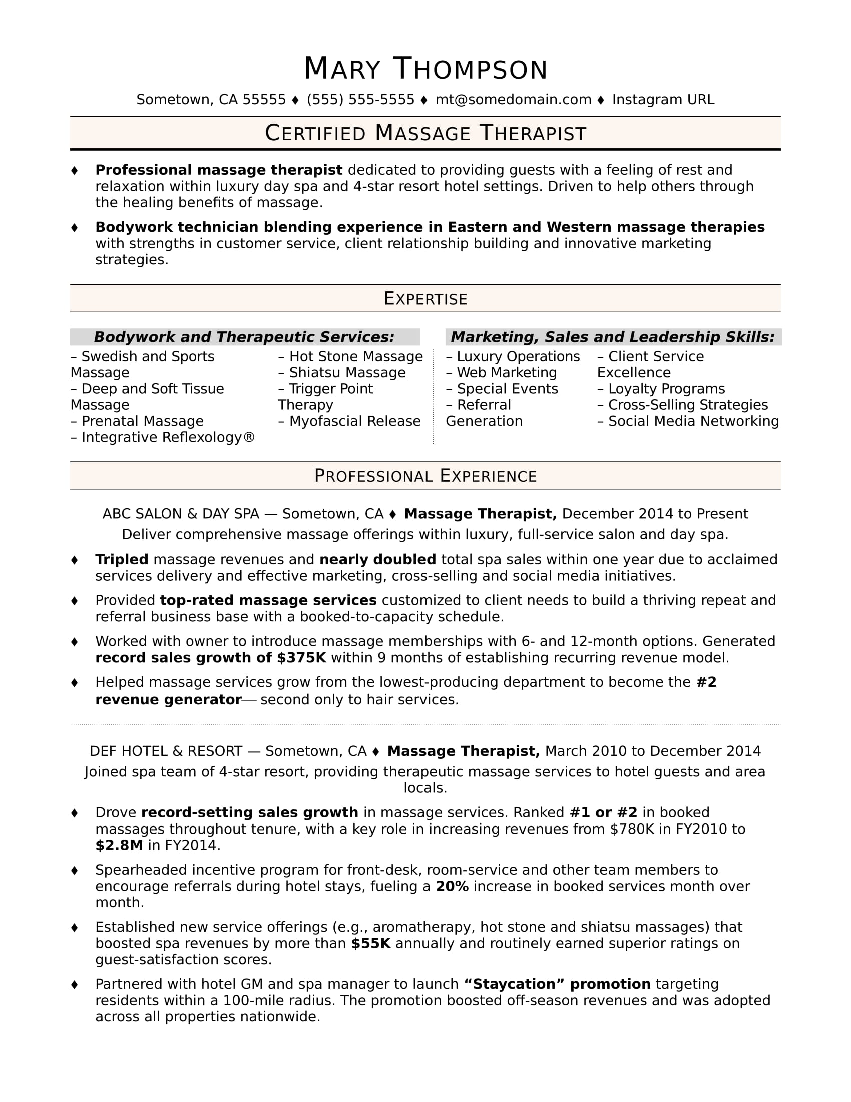 Therapist Resume Examples Massage Therapist Resume Sample Monster