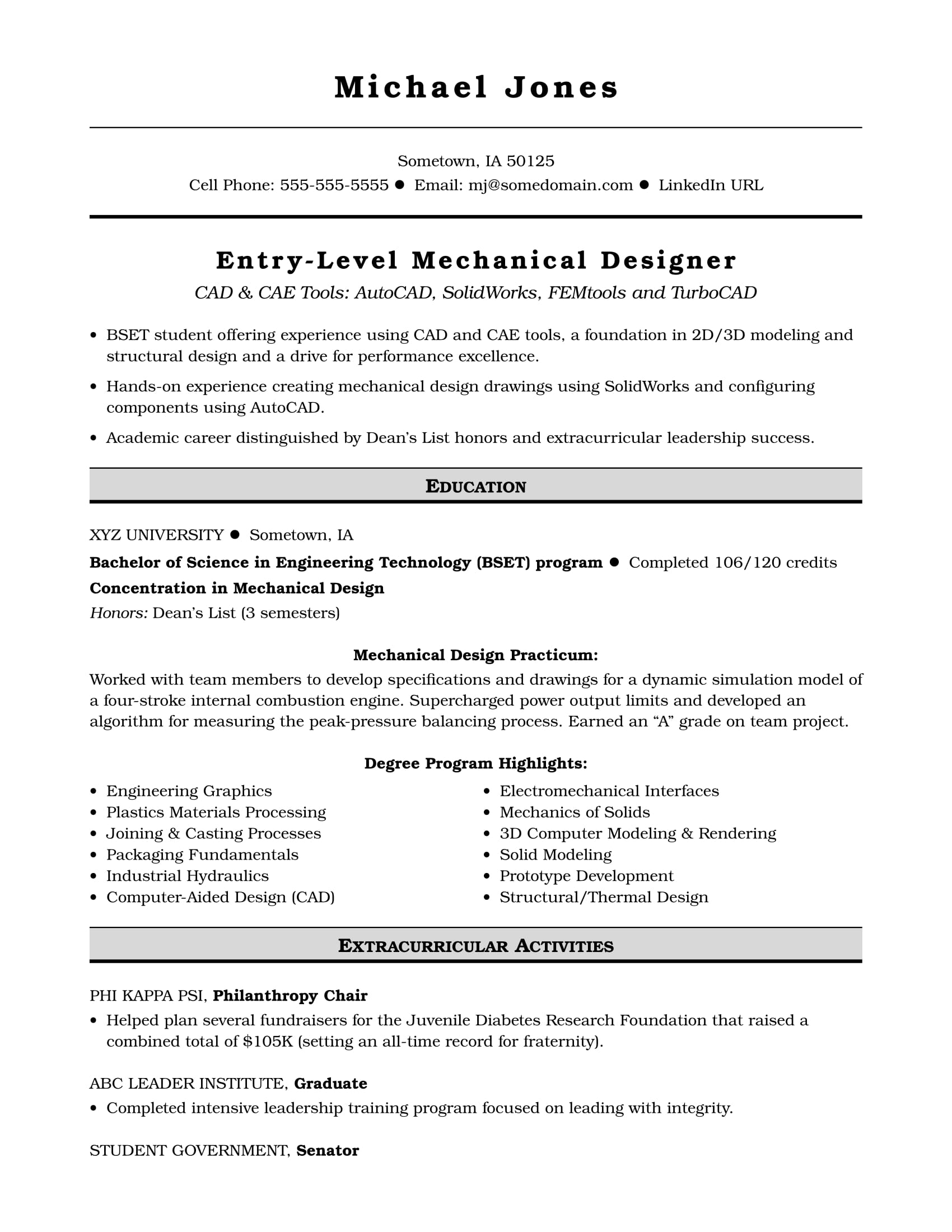 Philanthropy Resume Examples Sample Resume For An Entry Level Mechanical Designer