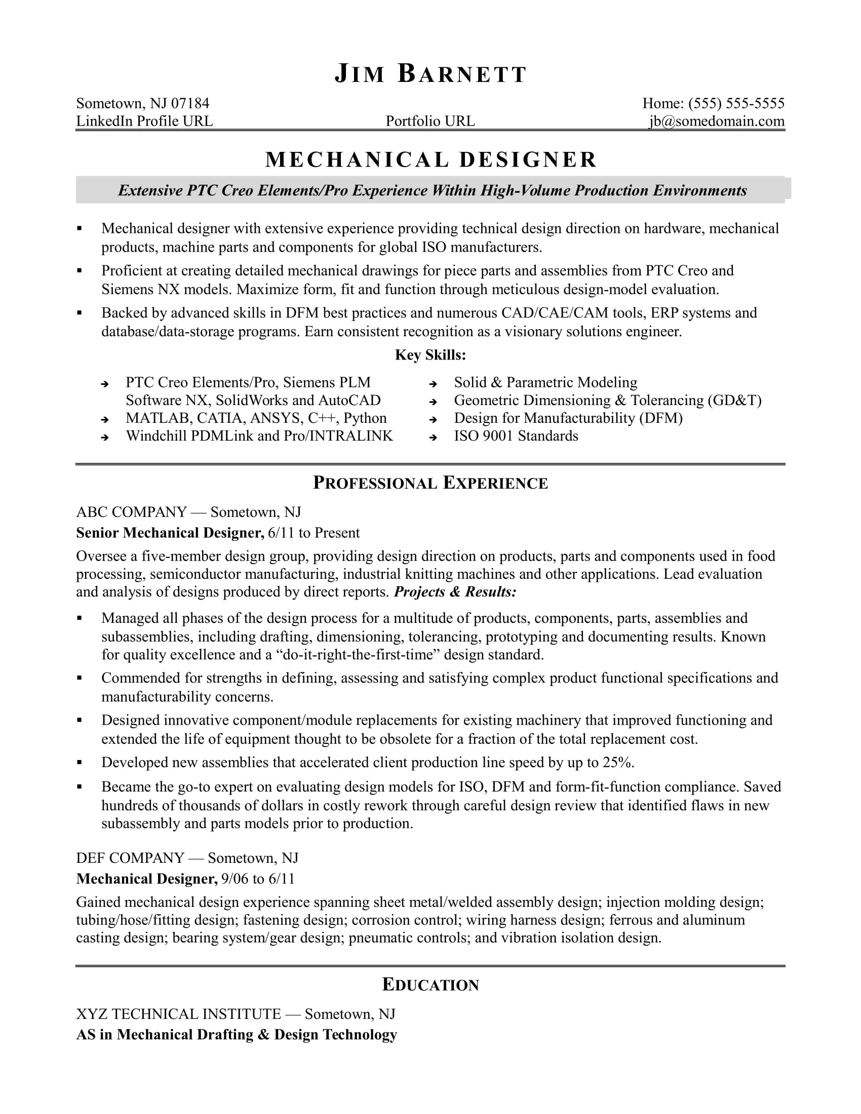 Sample Resume for an Experienced Mechanical Designer  Monstercom