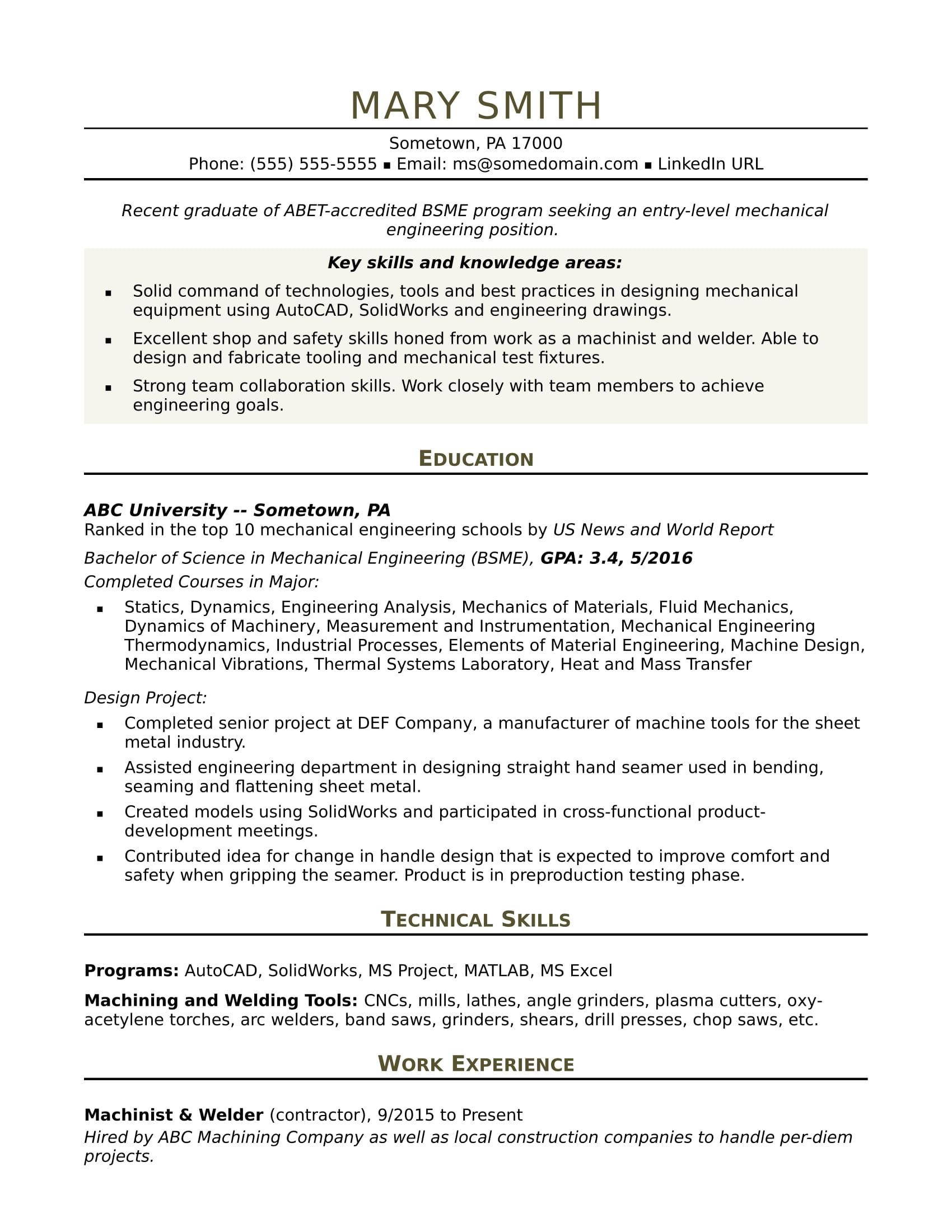 Sample Resume For An EntryLevel Mechanical Engineer  Monstercom