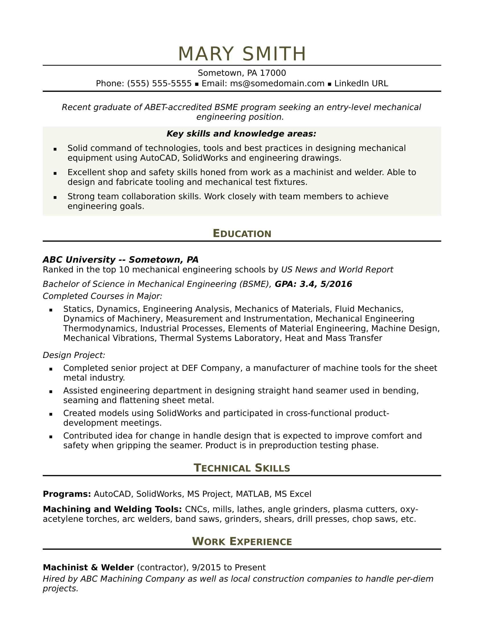 Technical Resume Tips Sample Resume For An Entry Level Mechanical Engineer Monster