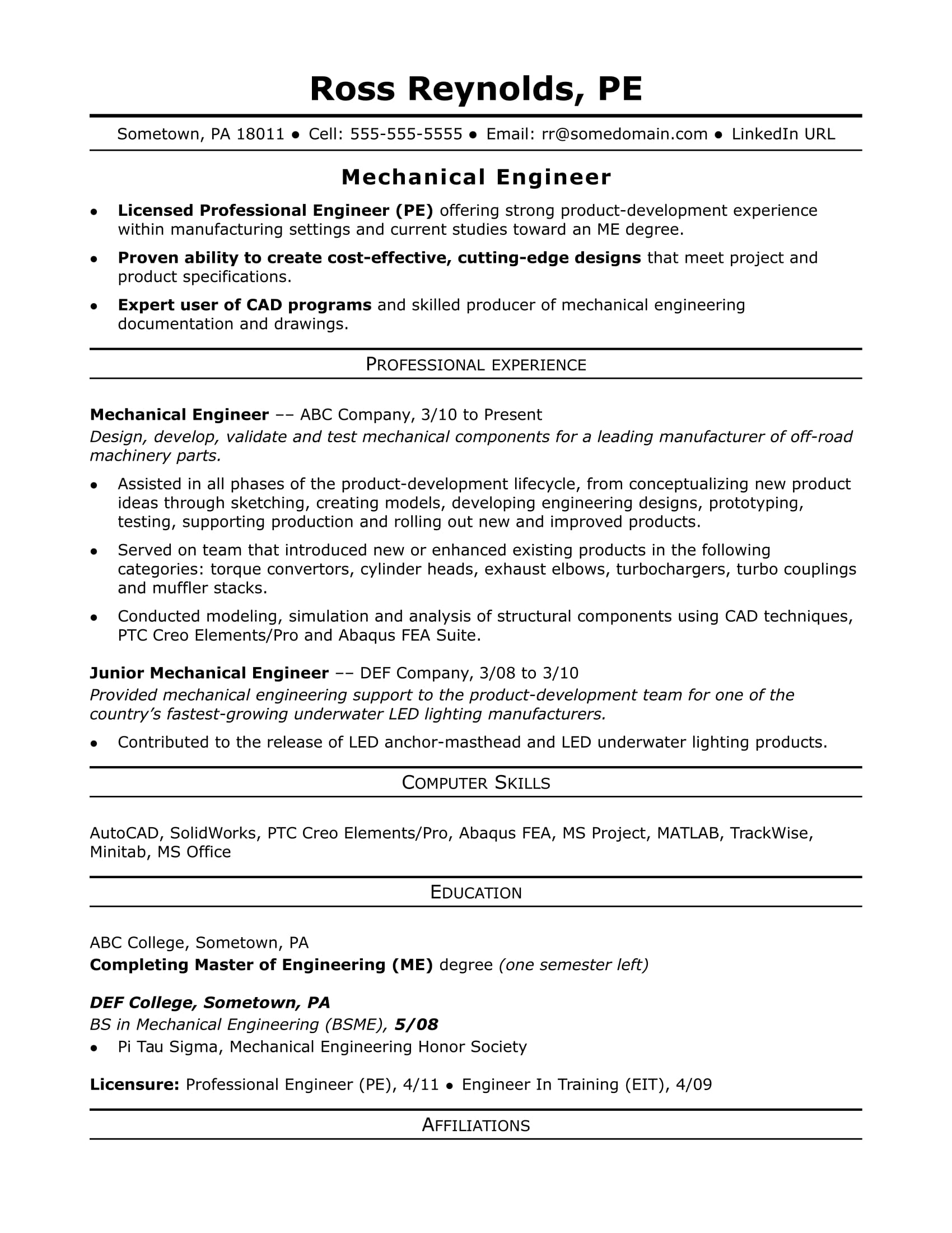 Resume Examples Engineering Sample Resume For A Midlevel Mechanical Engineer Monster