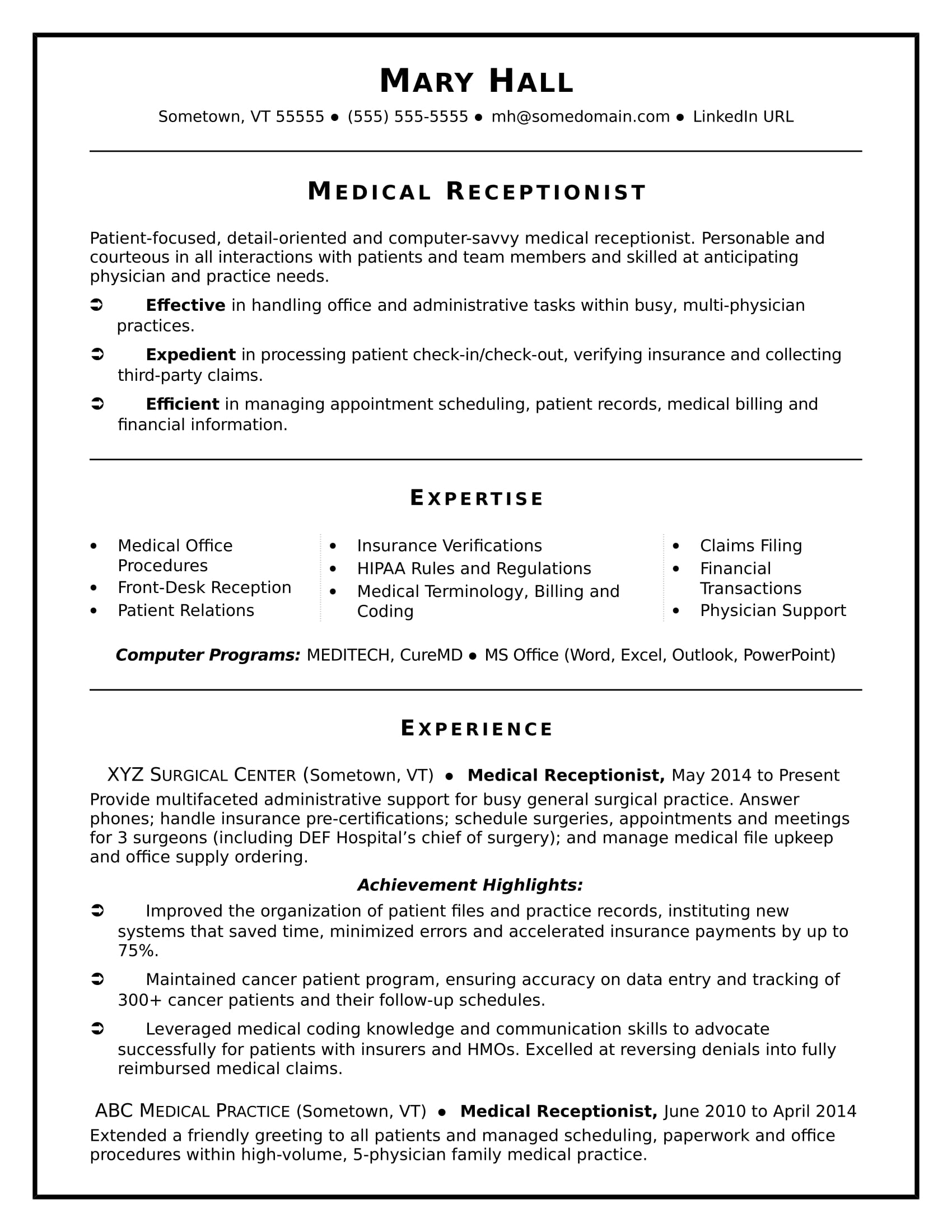 Physician Resumes Medical Receptionist Resume Sample Monster