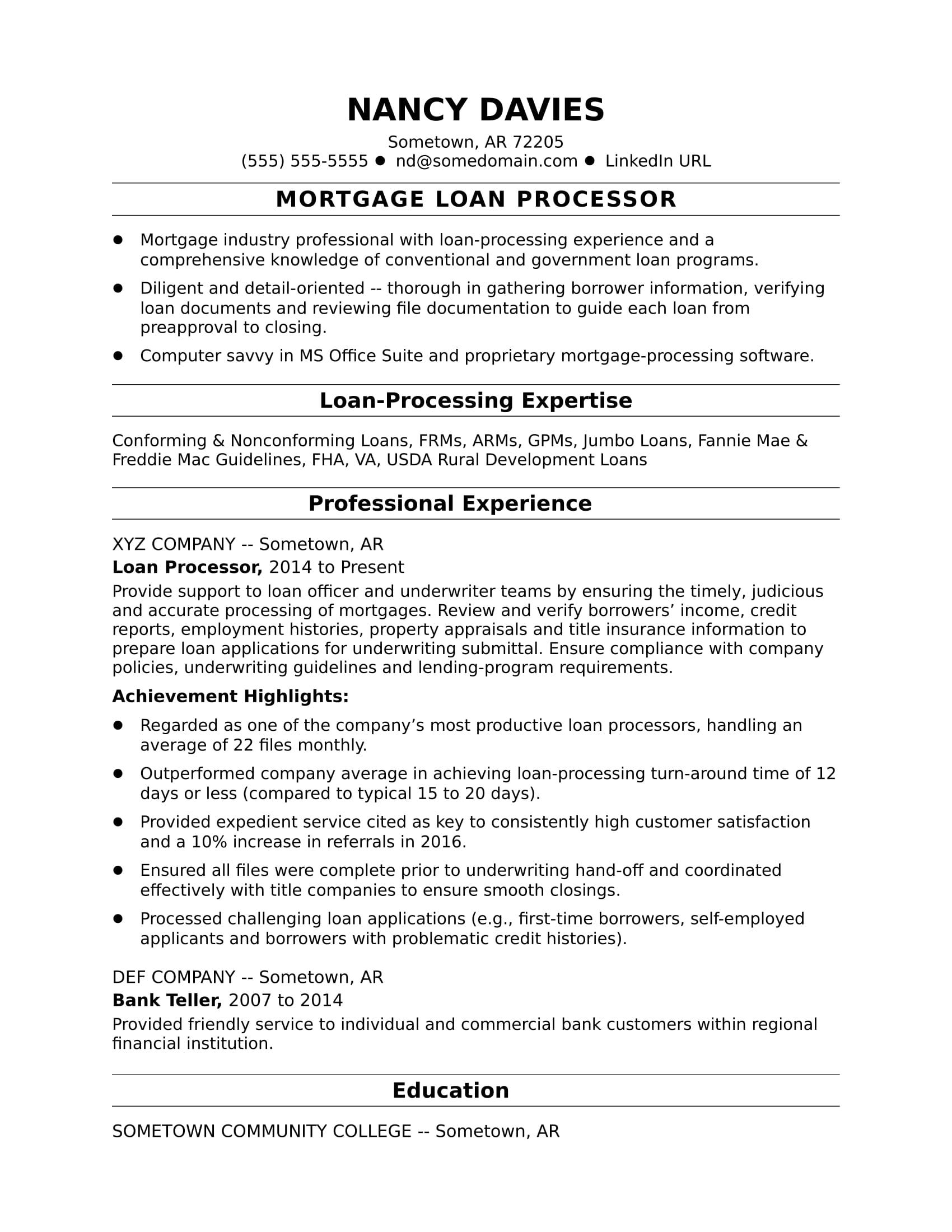 example of loan processor resume