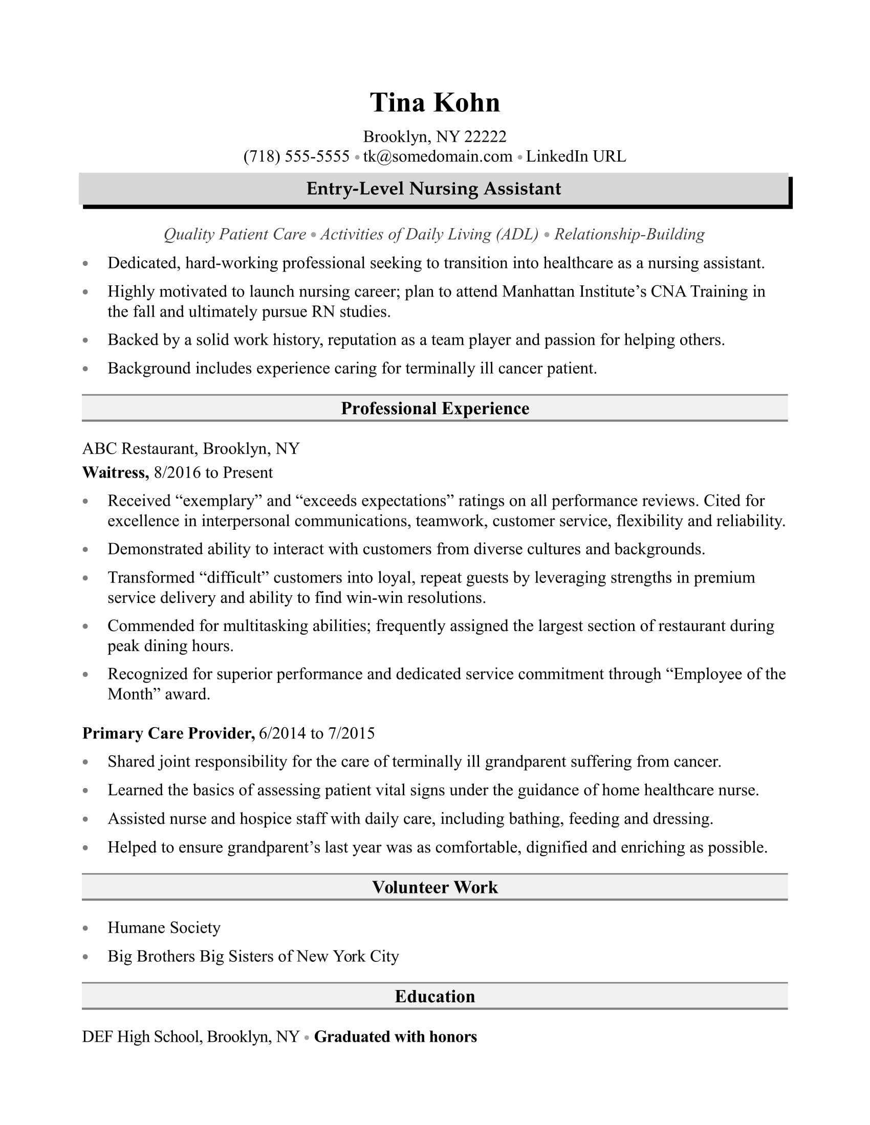 Samples Of Entry Level Resumes Nursing Assistant Resume Sample Monster