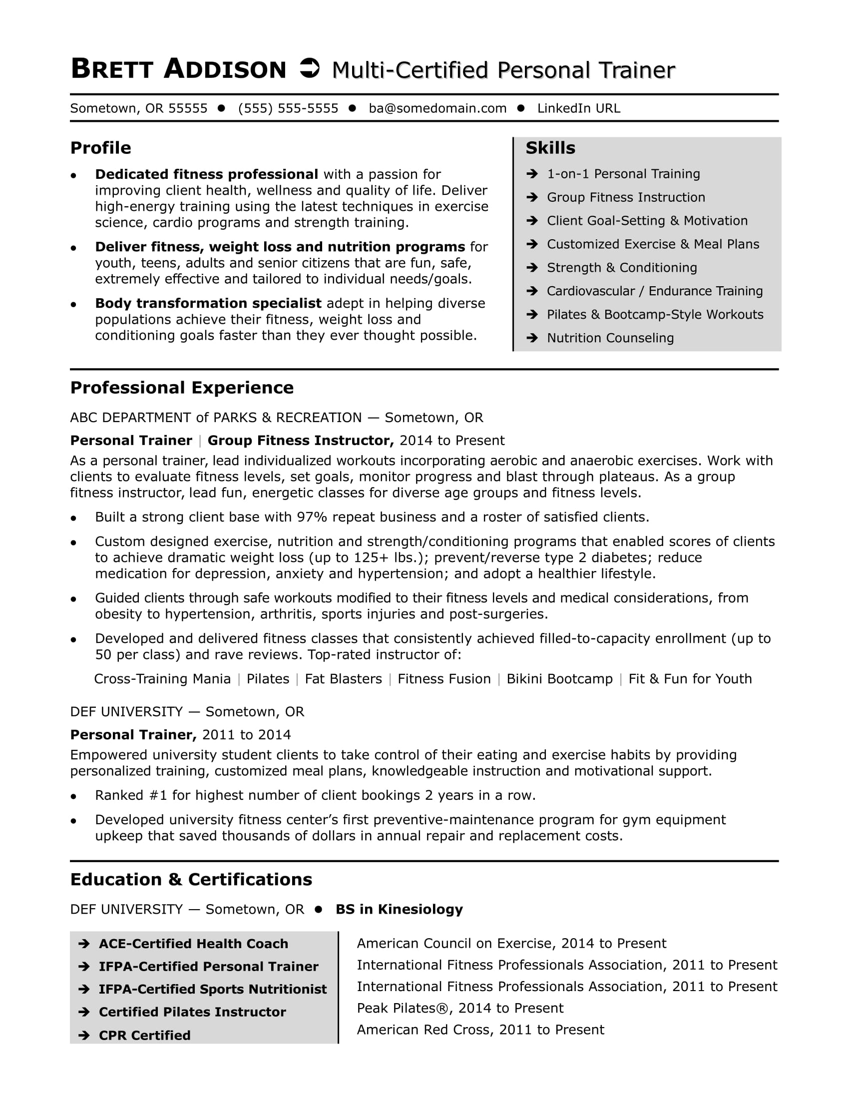 Sample Trainer Resume Personal Trainer Resume Sample Monster