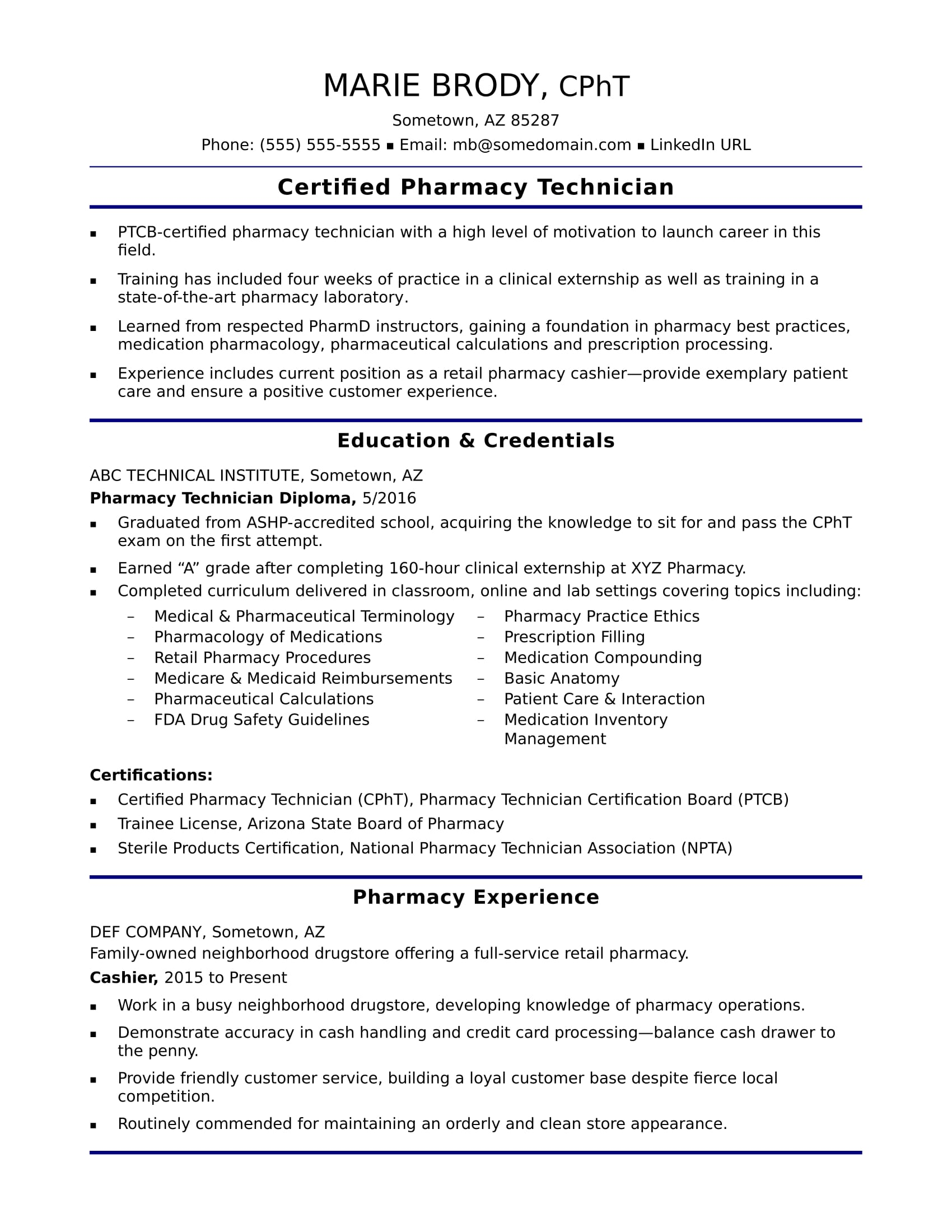 EntryLevel Pharmacy Technician Resume Sample  Monstercom