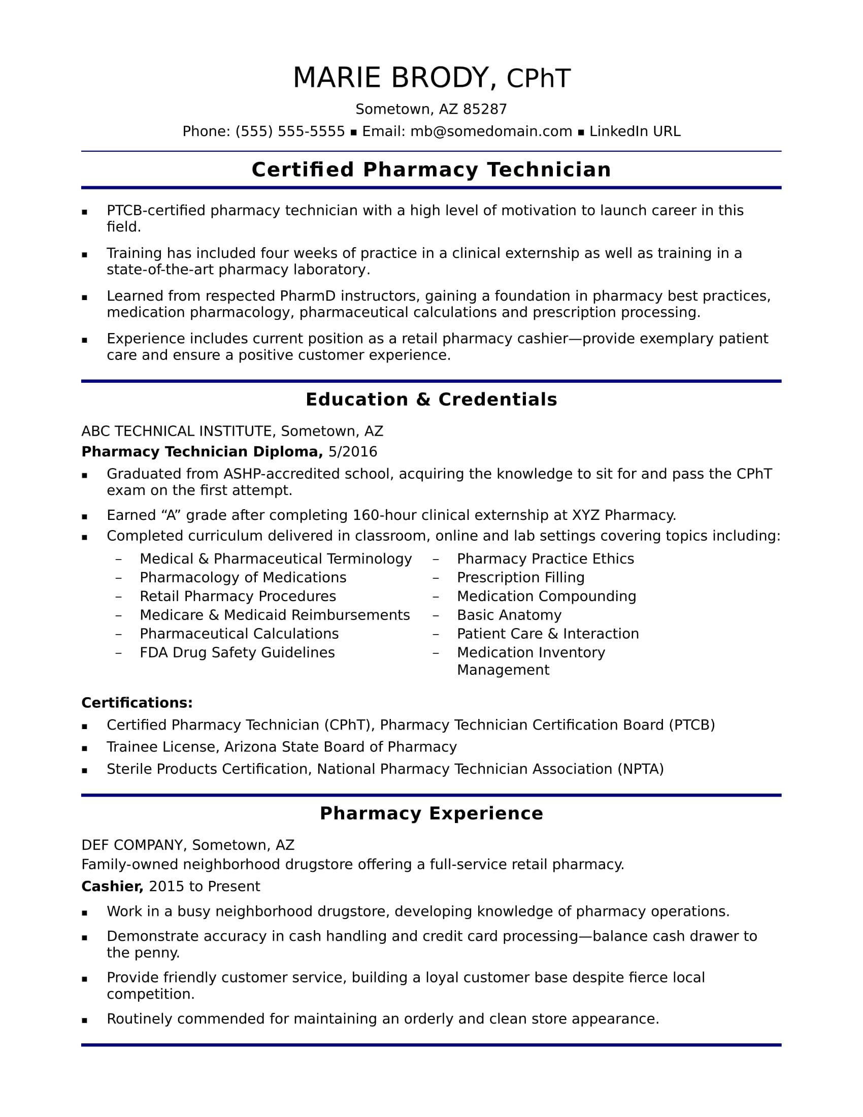 sample of a pharmacy tech summary on resume