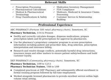 Midlevel Pharmacy Technician Resume Sample Monster Entry