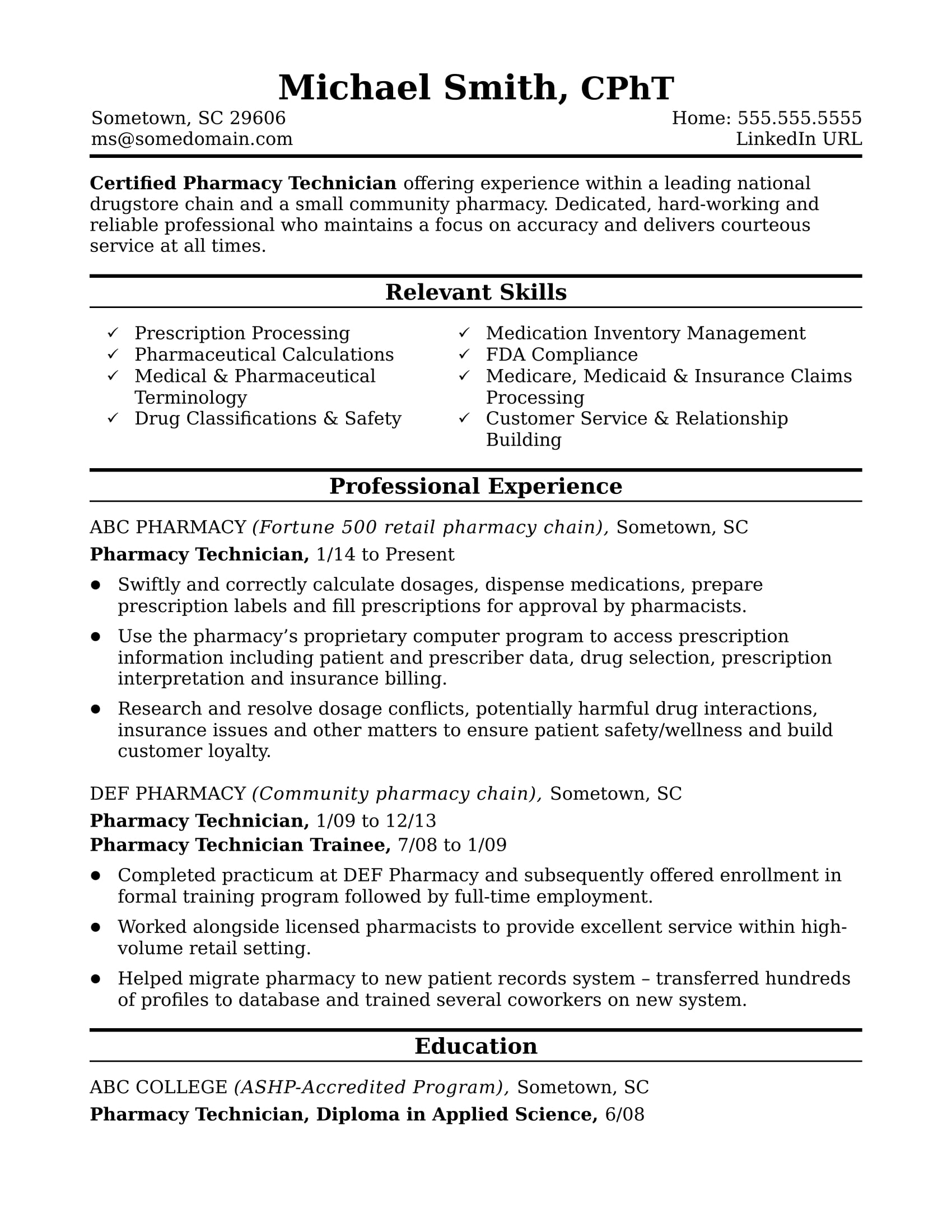 Objective For Pharmacy Technician Resume Midlevel Pharmacy Technician Resume Sample Monster