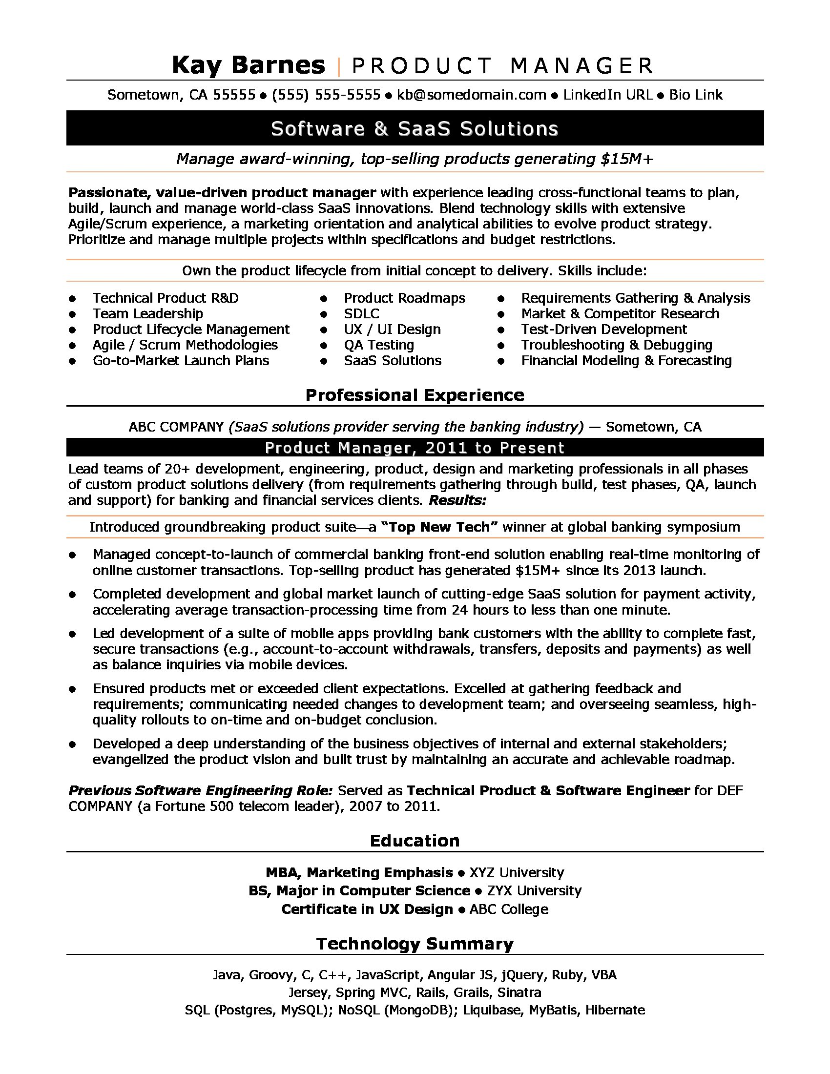Experience In Marketing Resume Product Manager Resume Sample Monster