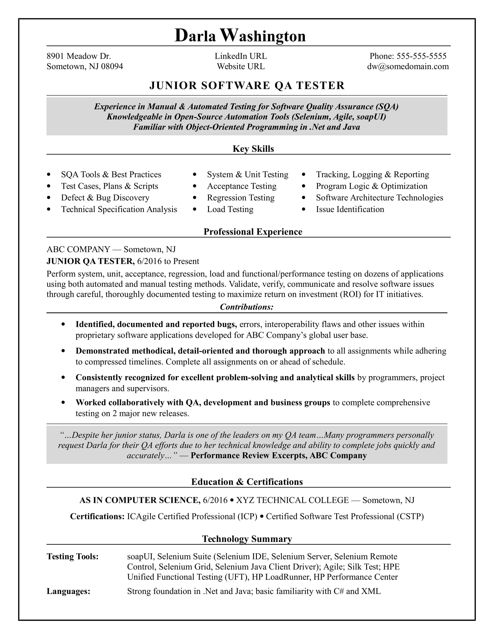 Senior Qa Resume Entry Level Qa Software Tester Resume Sample Monster