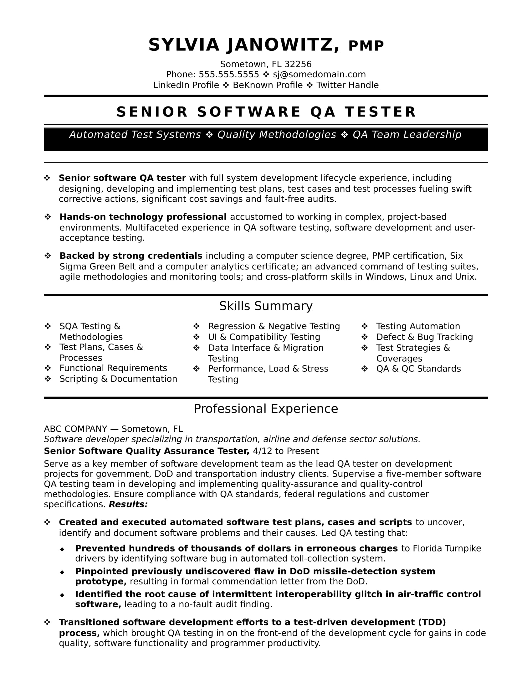 Sample Resume For Quality Assurance Executive Experienced Qa Software Tester Resume Sample Monster