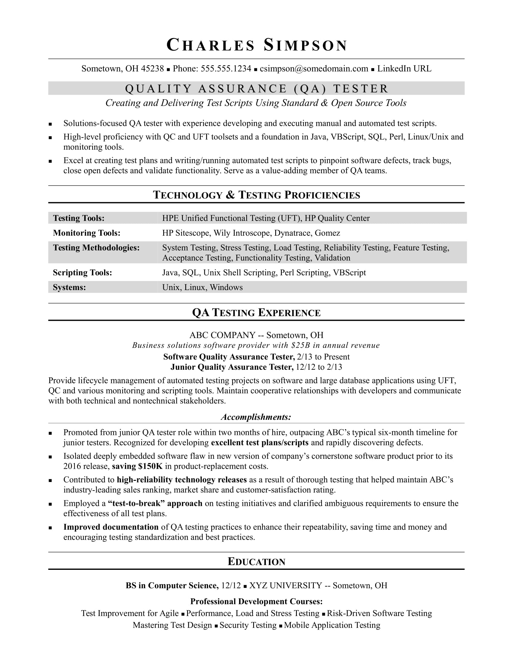 Software Testing Resume Format For Experienced Sample Resume For A Midlevel Qa Software Tester Monster
