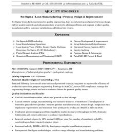 sample resume for a midlevel quality engineer [ 1700 x 2200 Pixel ]
