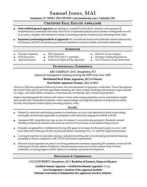 resume examples for real estate appraiser