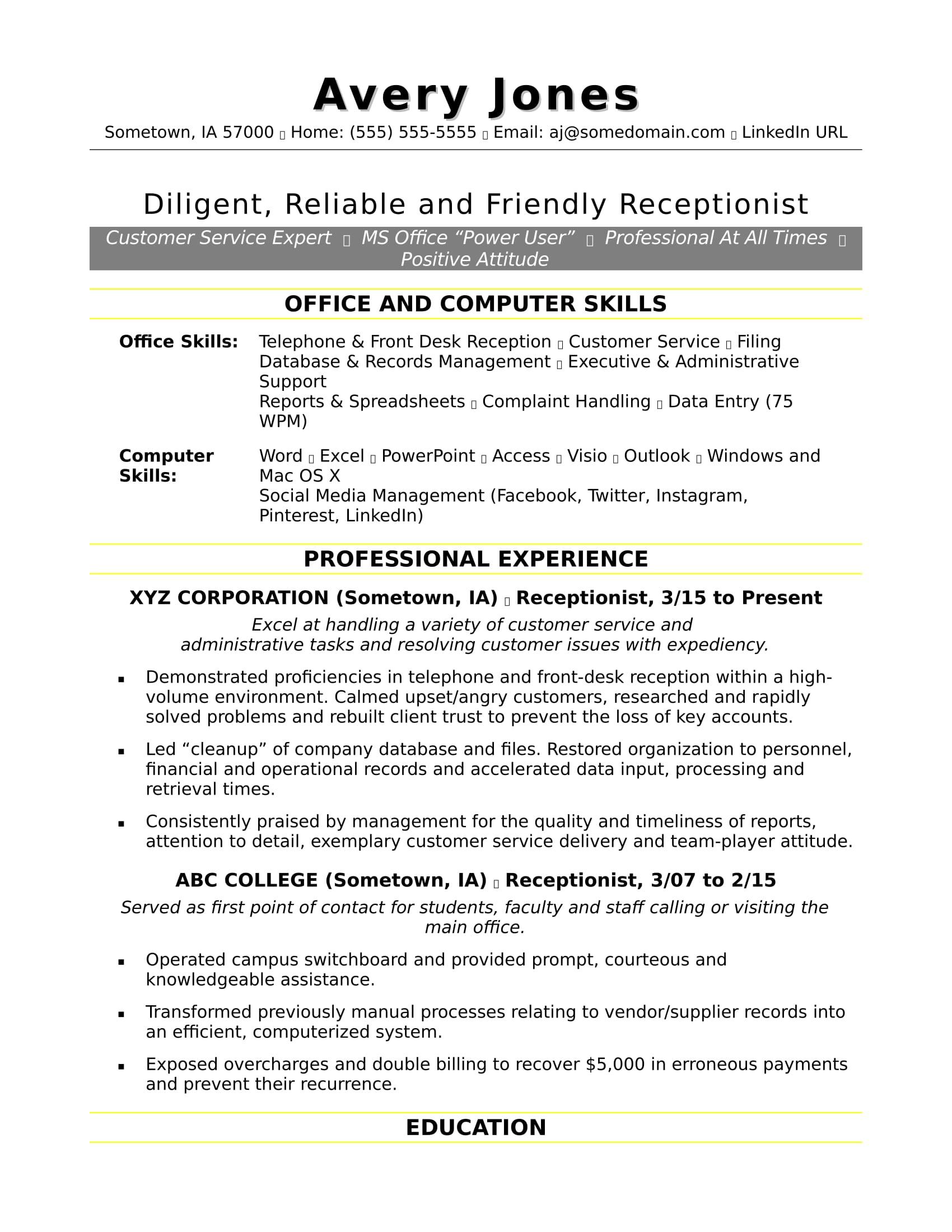 Receptionist Resume Sample | Monster.com
