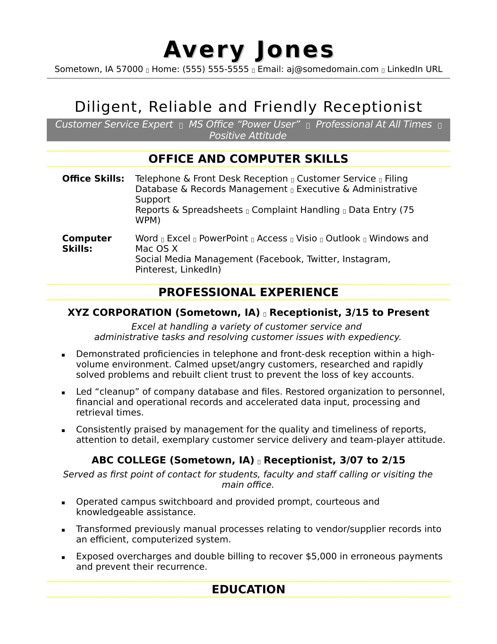 Good Skills To Write On Resume Receptionist Resume Sample Monster