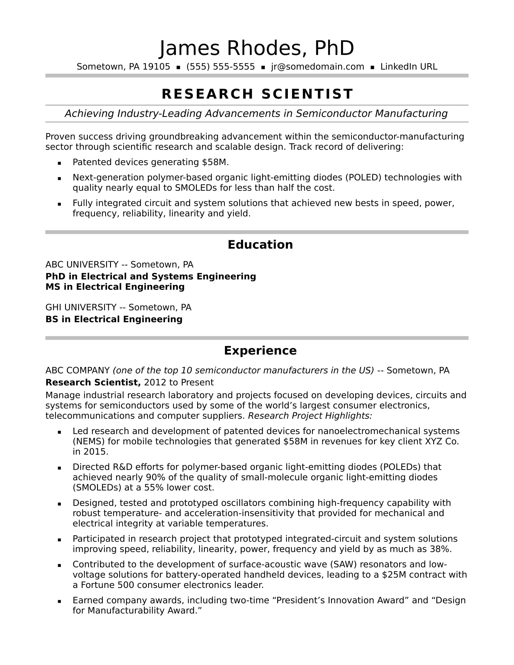 Research Scientist Resume Sample  Monstercom