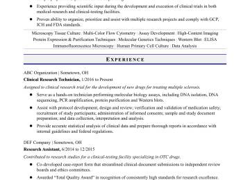 Biological Science Technician Cover Letter | Habilitation Technician ...