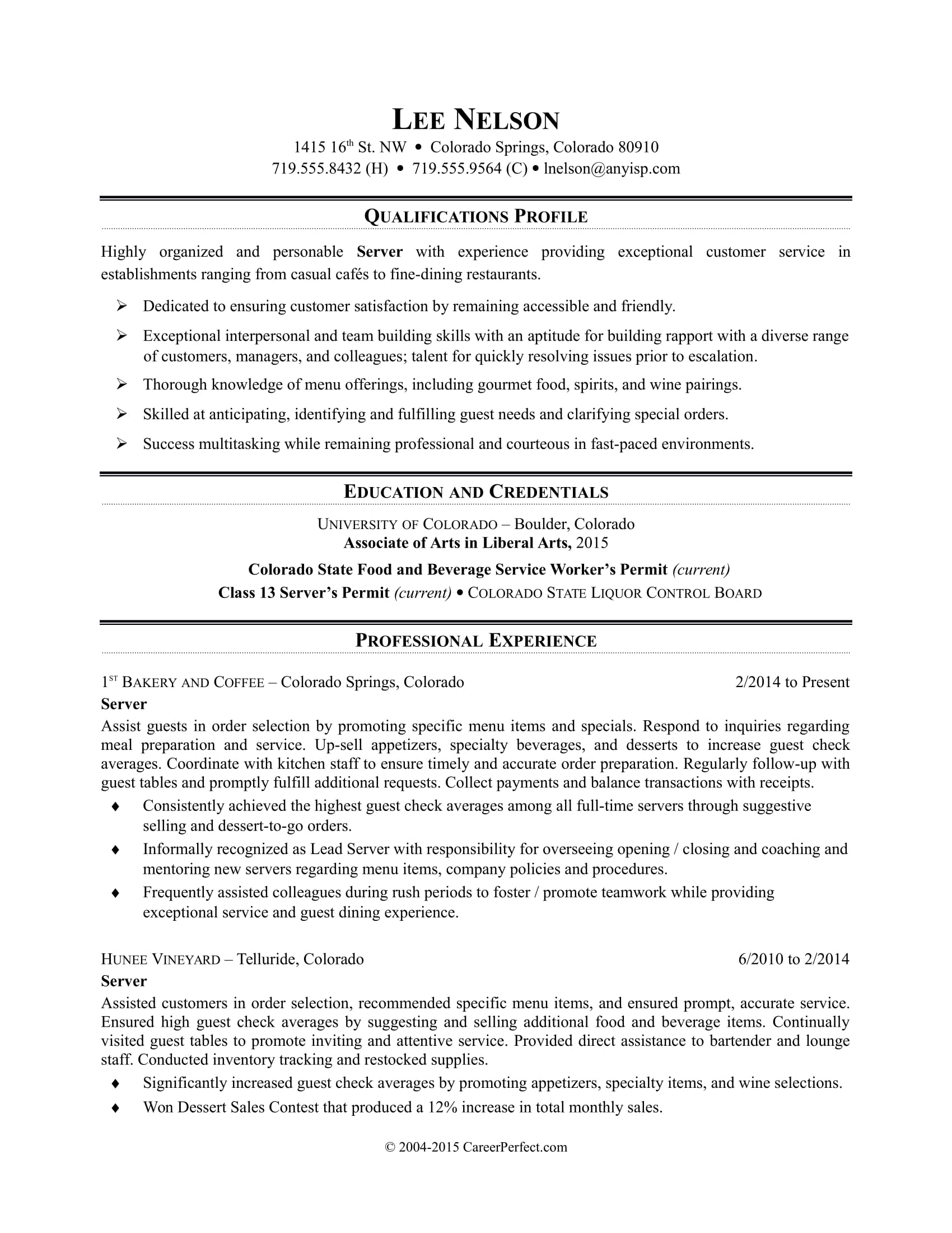 Example Server Resume Restaurant Server Resume Sample Monster