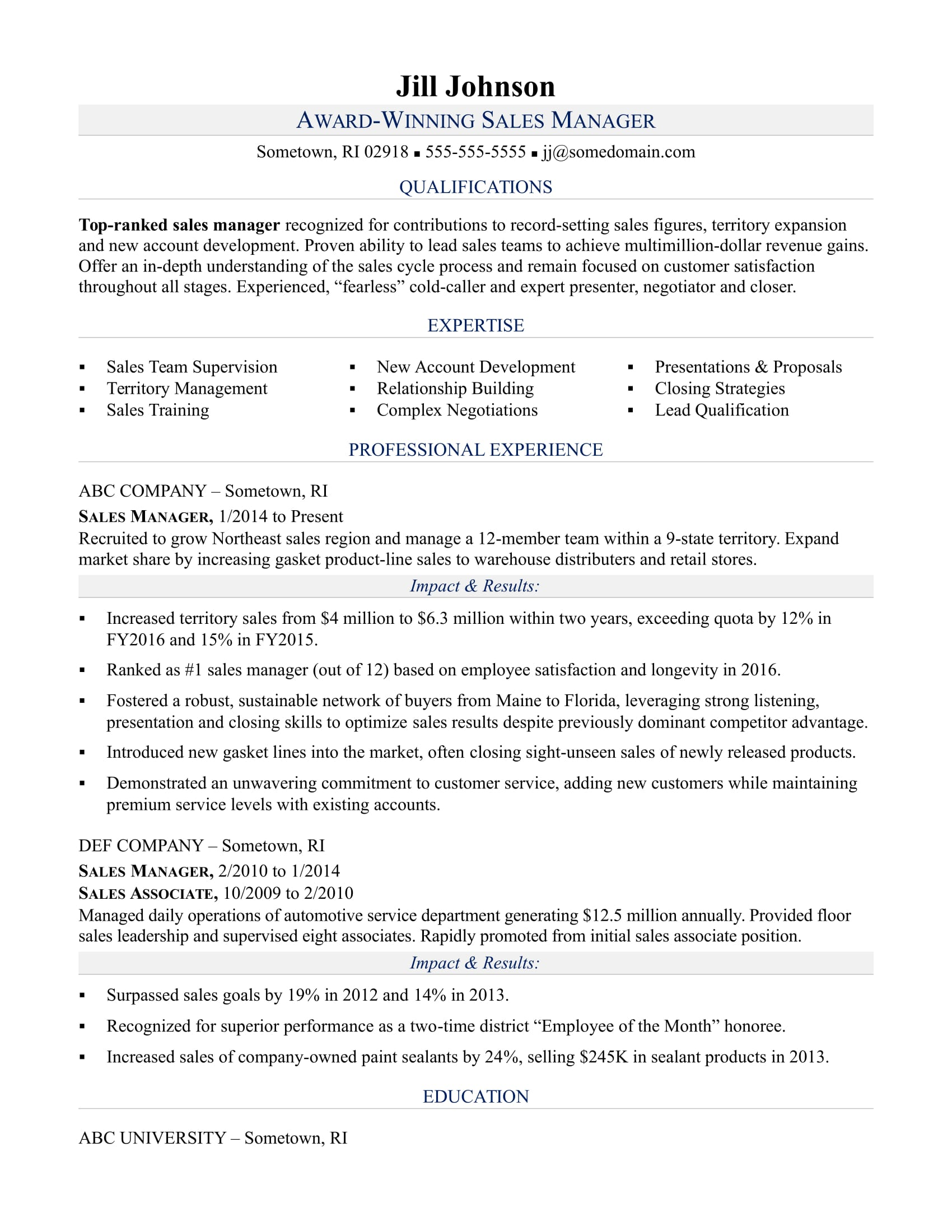 Management Skills For A Resume Sales Manager Resume Sample Monster