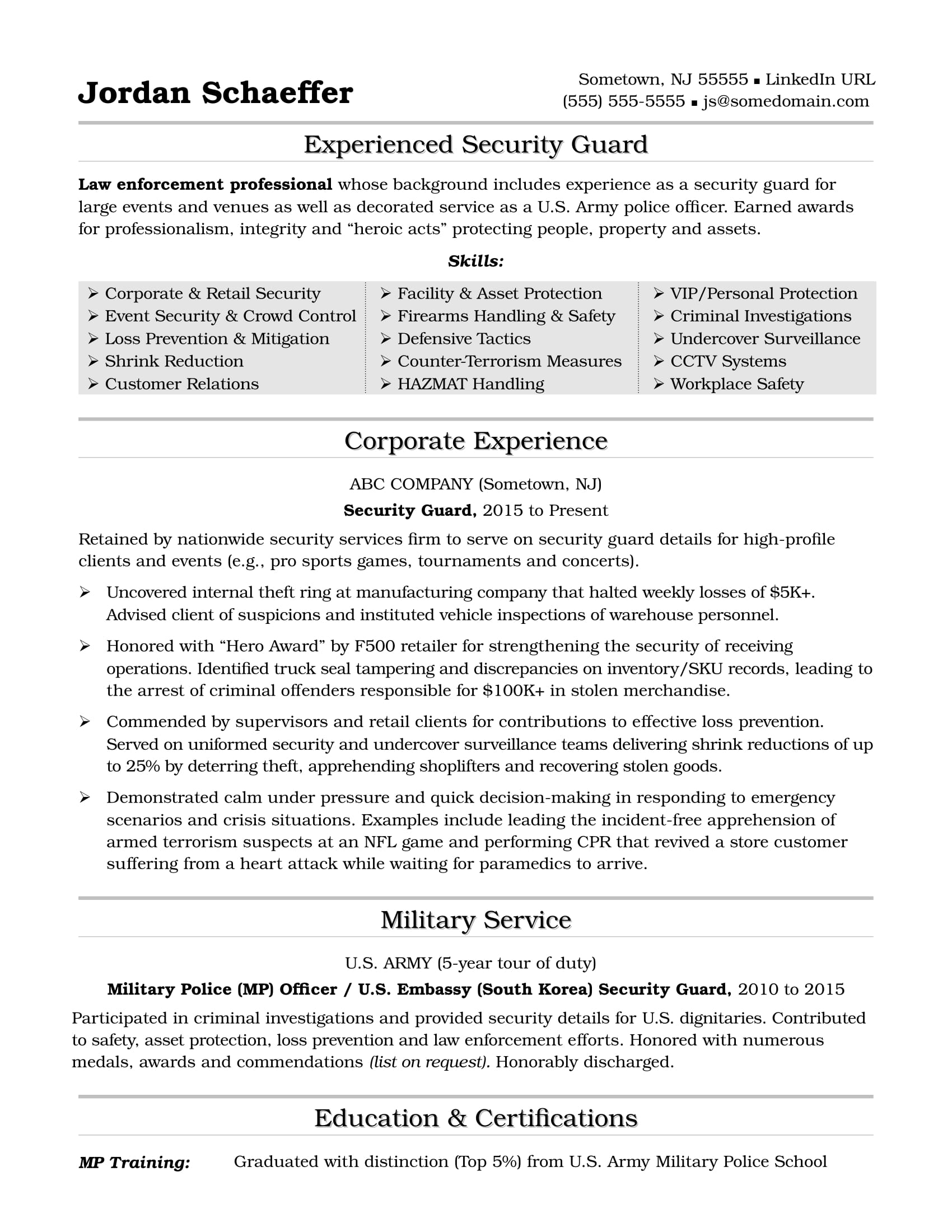 Security Clearance Resume Security Guard Resume Sample Monster