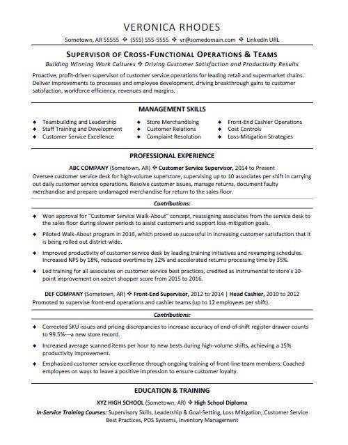 Supervisor Resumes Resume Sample
