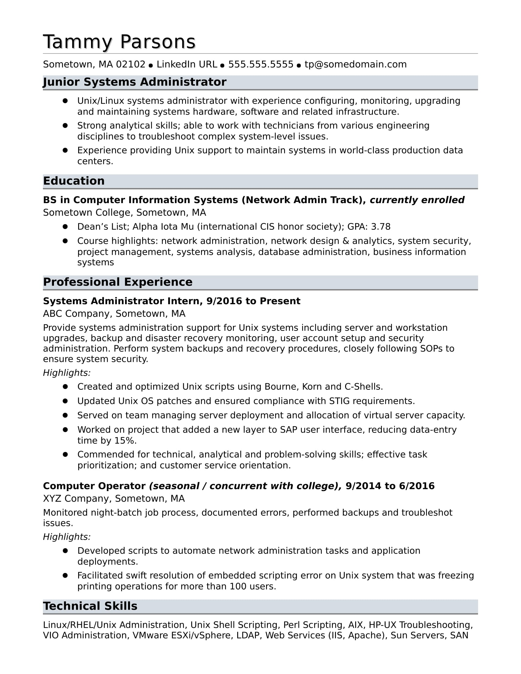 unix manager resume