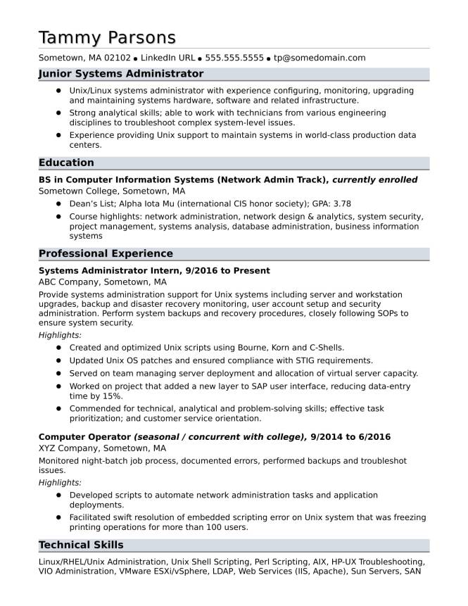 Sample Resume For An Entry Level Systems Administrator Monster