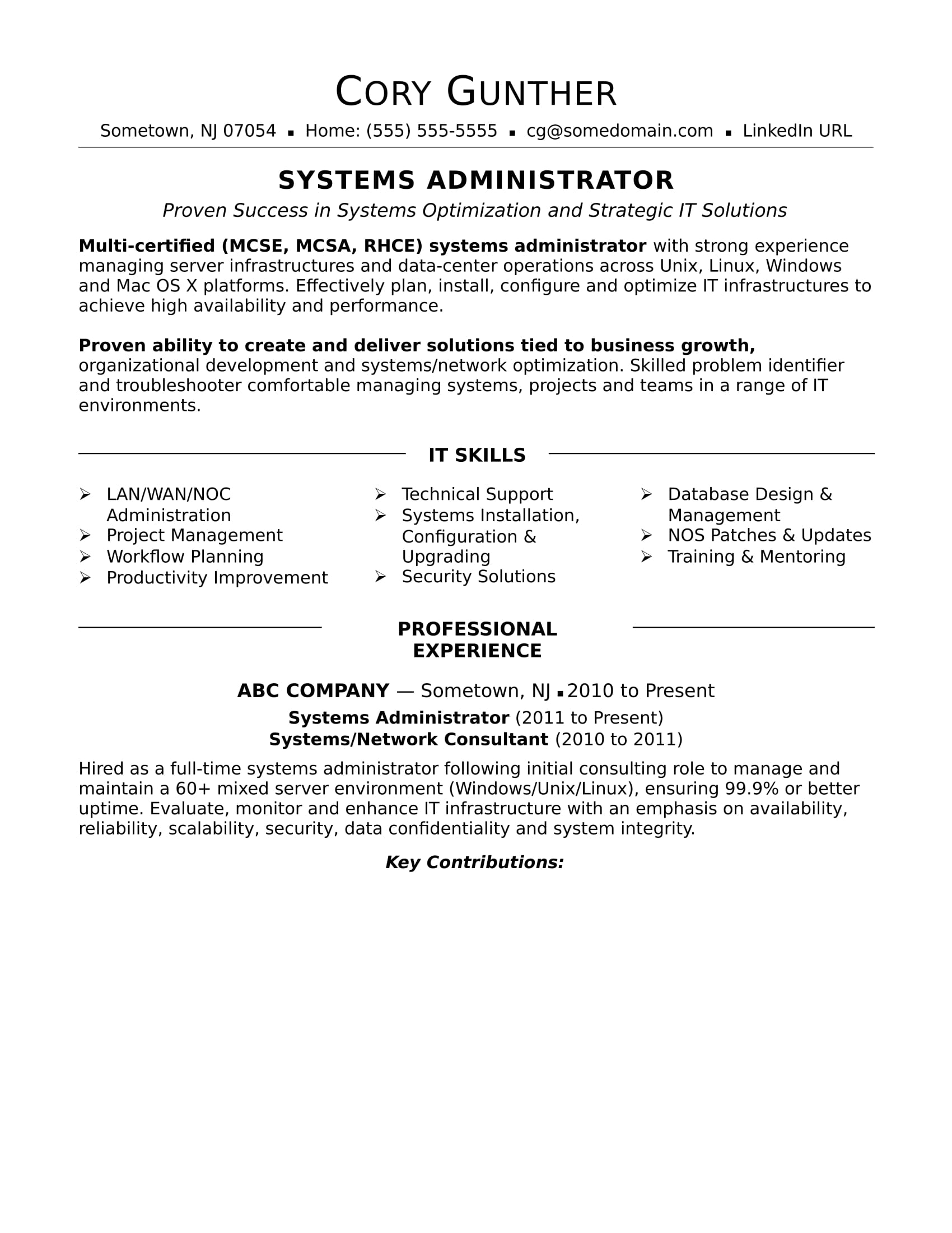 Sample Key Skills For Resume Sample Resume For An Experienced Systems Administrator Monster
