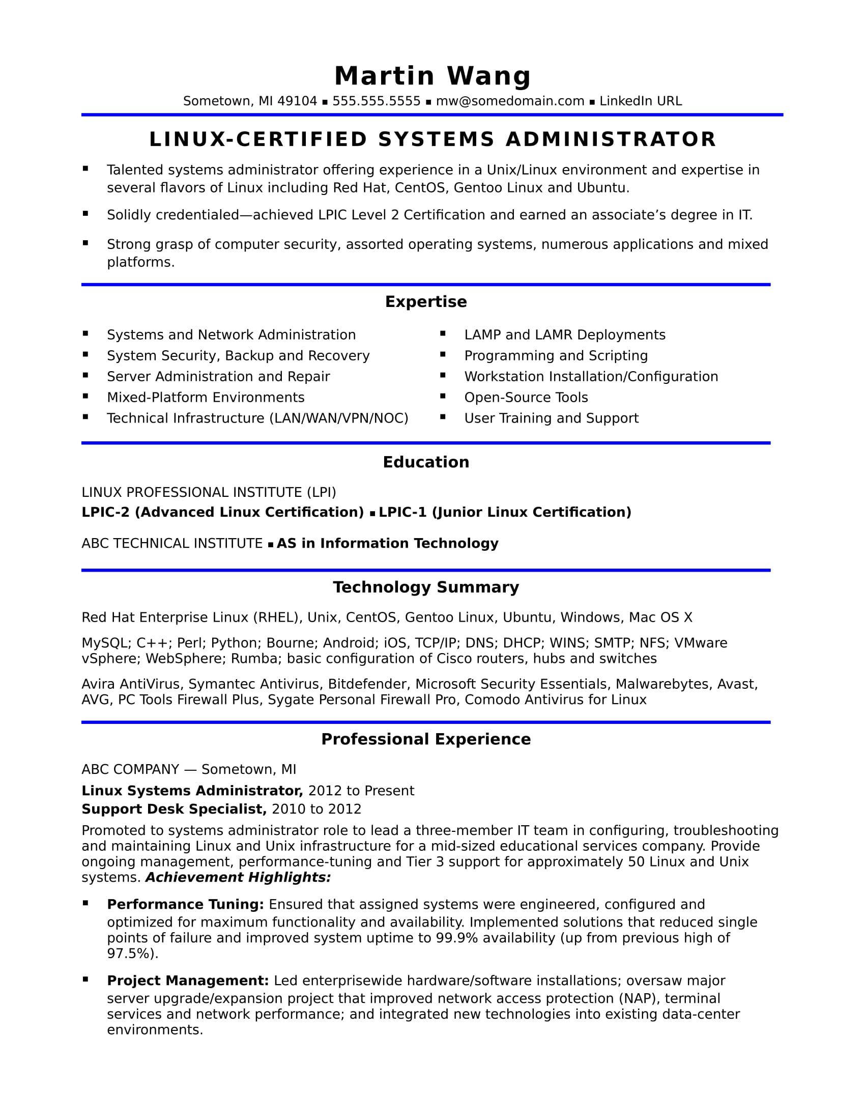 97 Sample System Admin Resume Resume Windows System