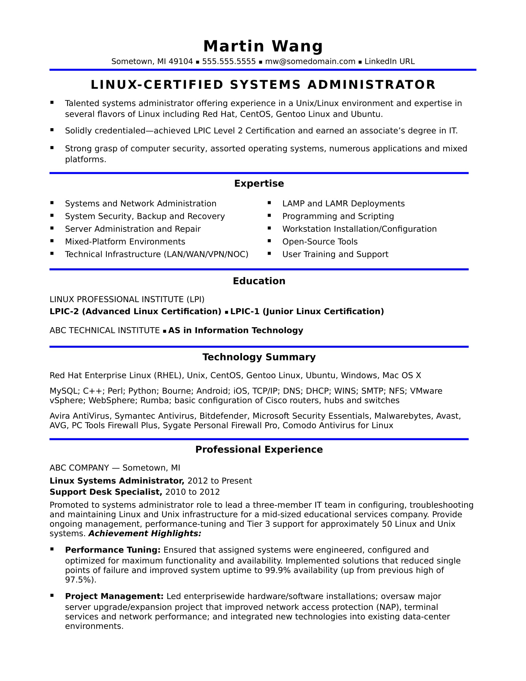 linux administrator resume sample for experience