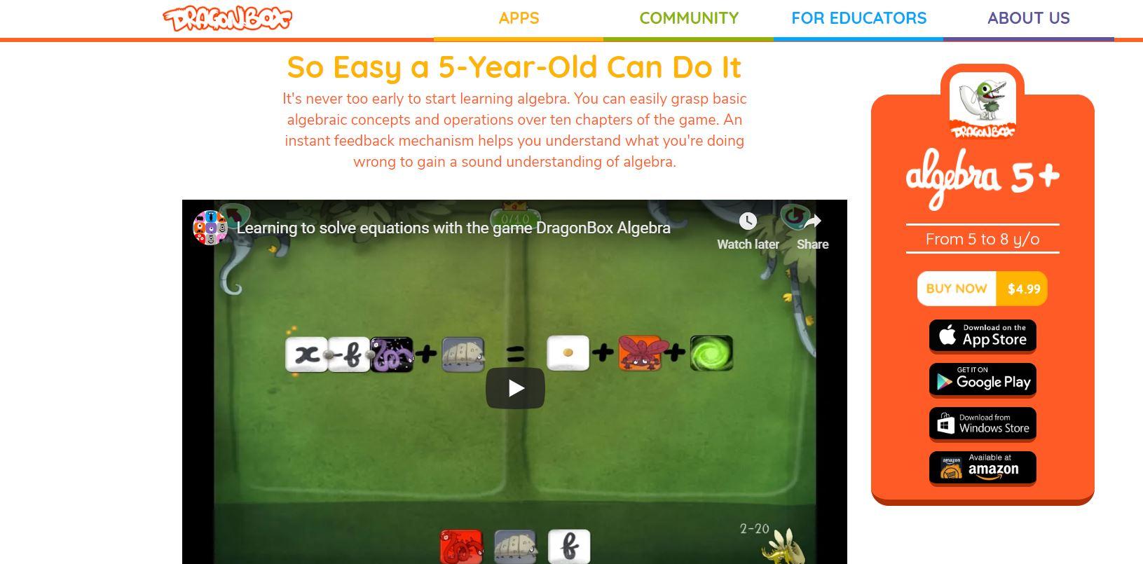 Dragonbox Algebra 5+ CodaKid Top 21 Math Apps of 2019